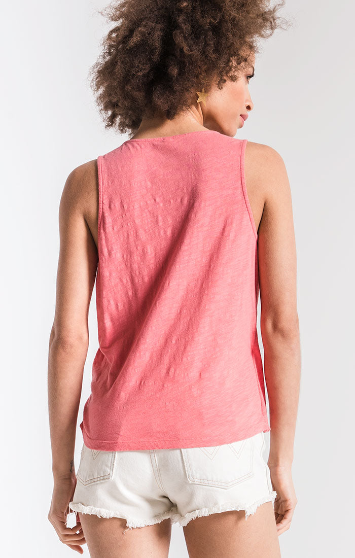 Tops The Muse Cotton Slub Wrap Tank Sugar Coral