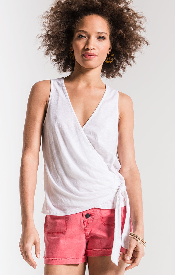Tops The Muse Cotton Slub Wrap Tank White