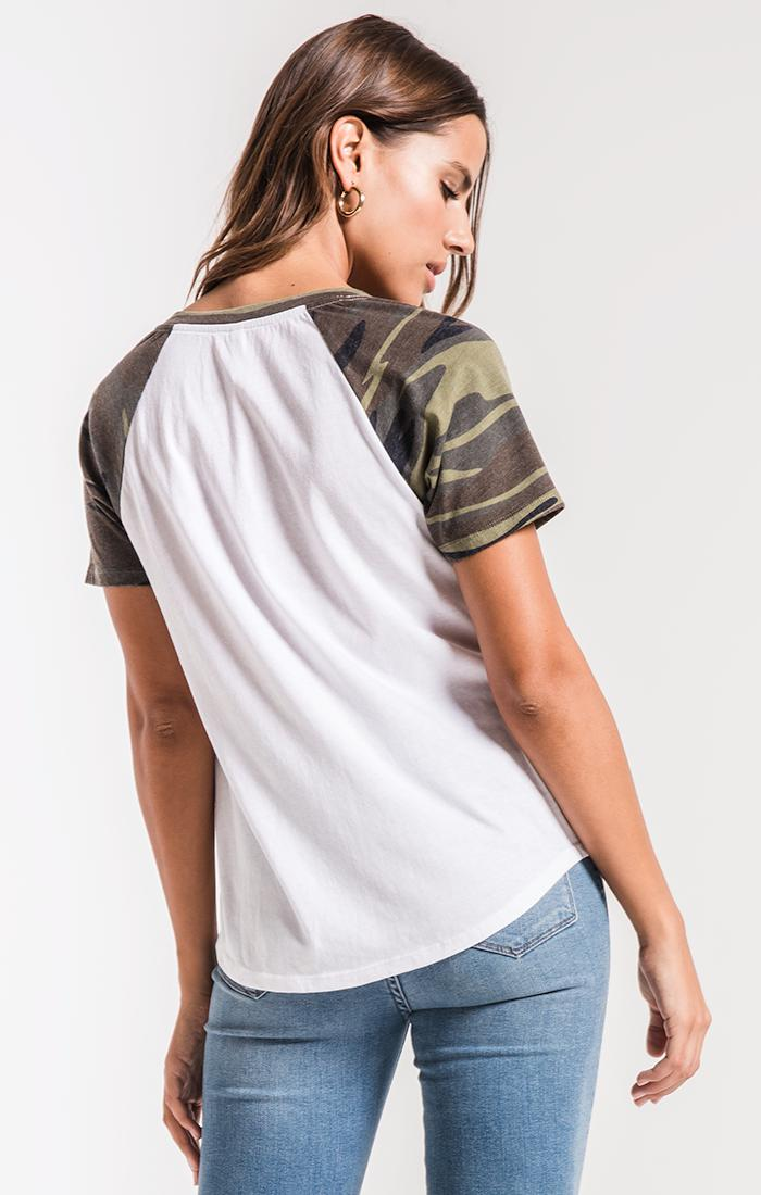 Tops The Camo Short Sleeve Baseball Tee Camo Green