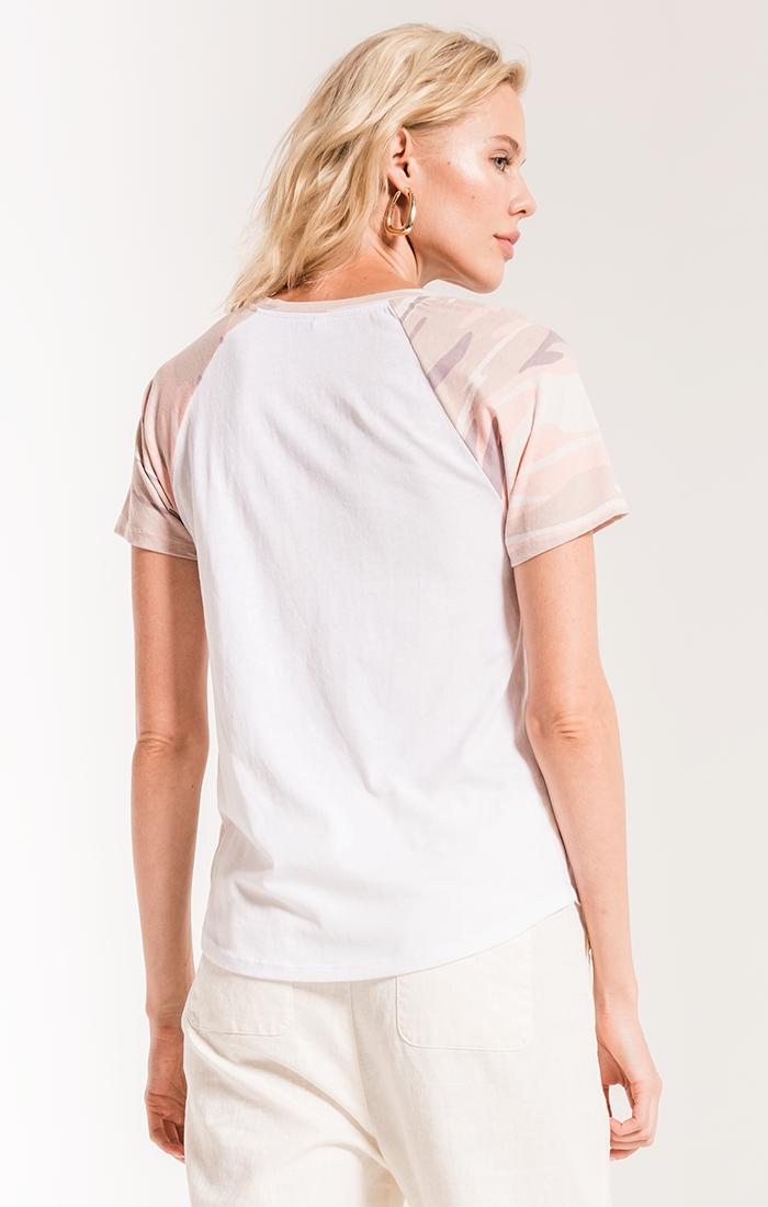 Tops The Camo Short Sleeve Baseball Tee Camo Coral Pink