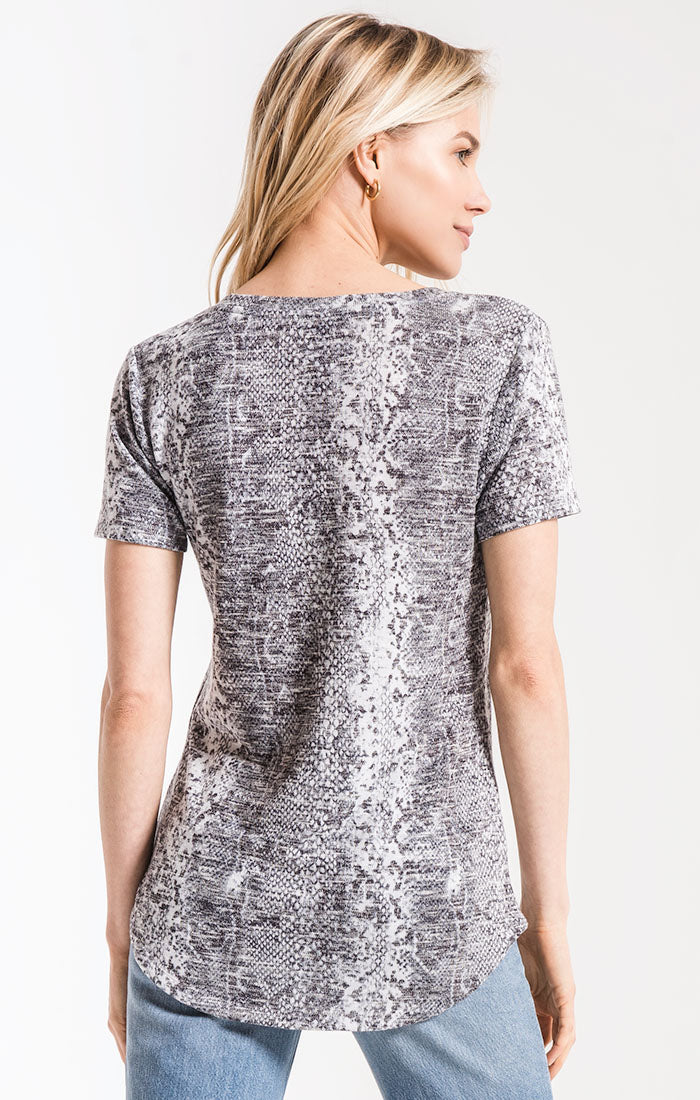 Tops The Snakeskin V-Neck Tee Grey Combo