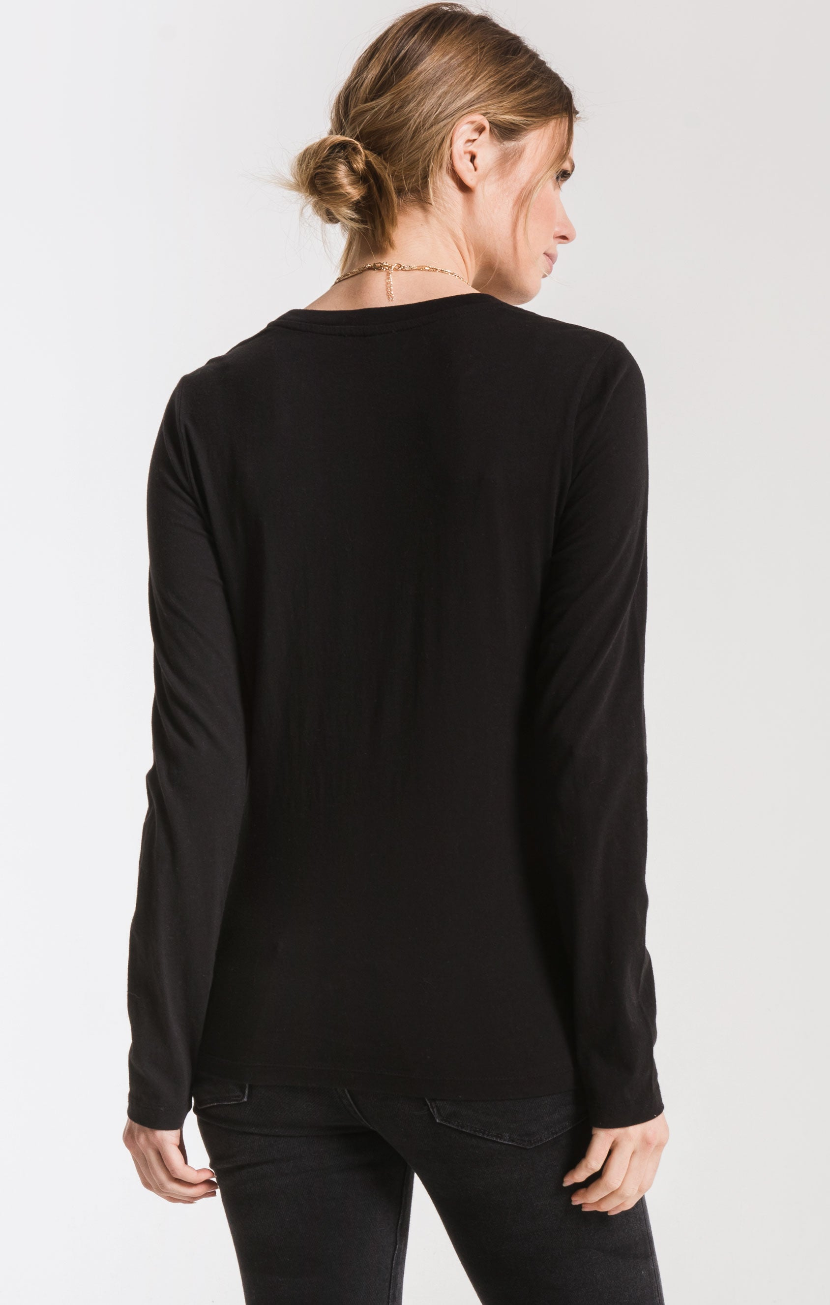 Tops The Perfect Long Sleeve Crew Tee Black