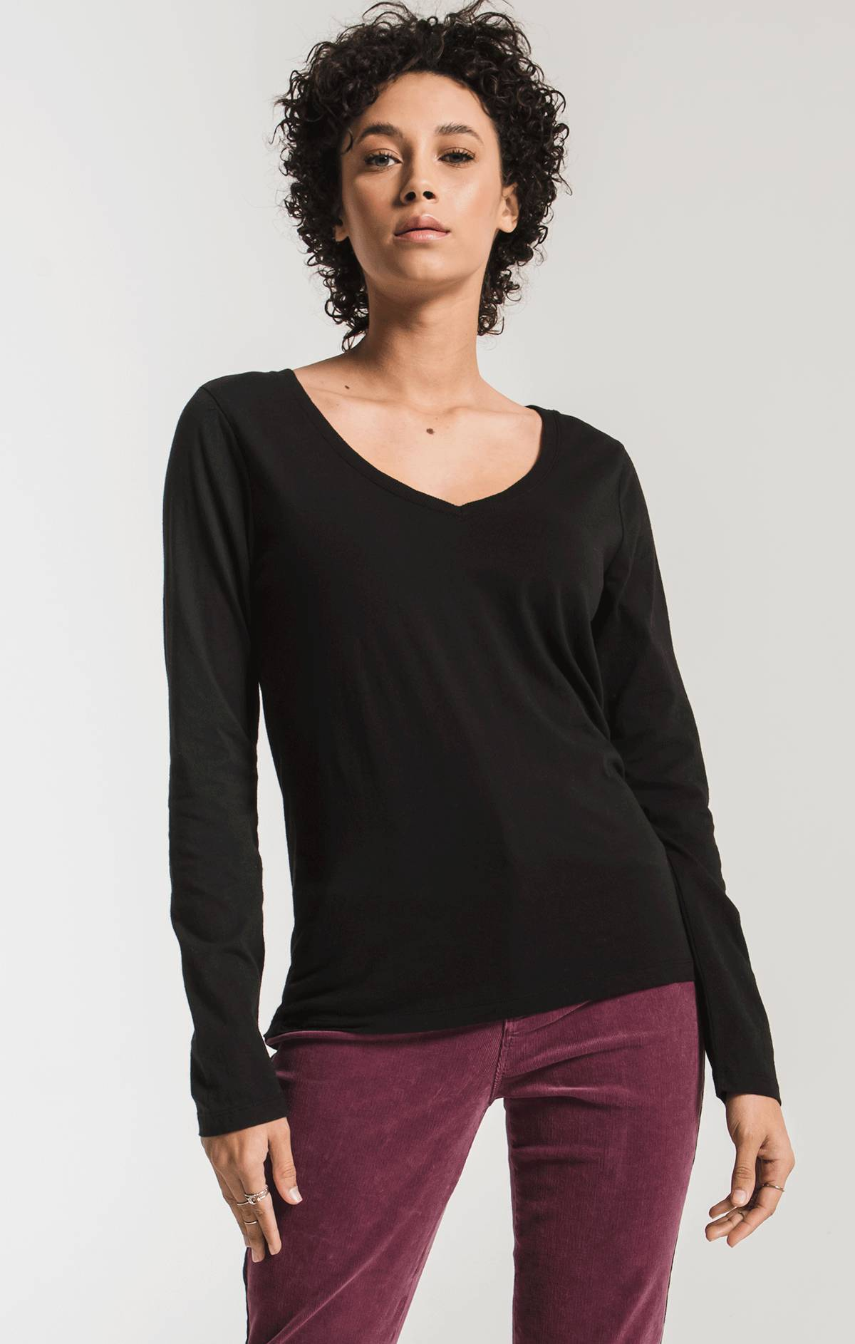 Tops Perfect Long Sleeve V-Neck Tee Black