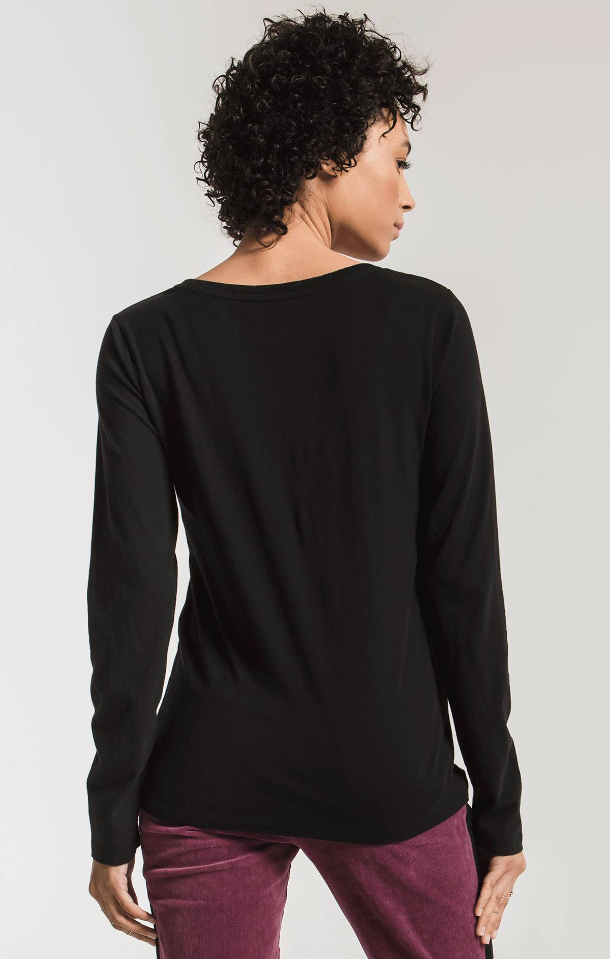Tops The Perfect Long Sleeve V-Neck Tee Black
