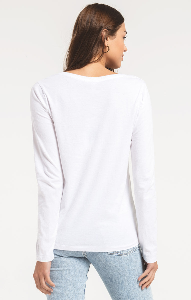 Tops The Perfect Long Sleeve V-Neck Tee White