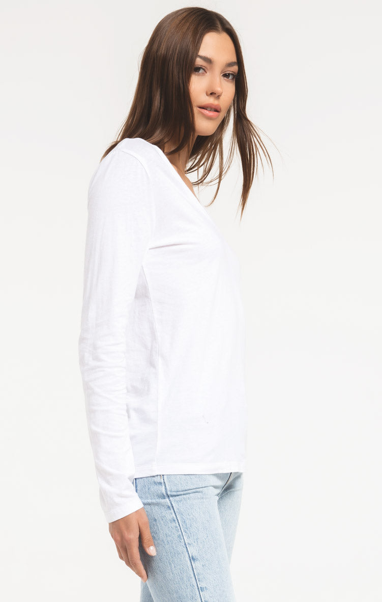 Tops Perfect Long Sleeve V-Neck Tee White