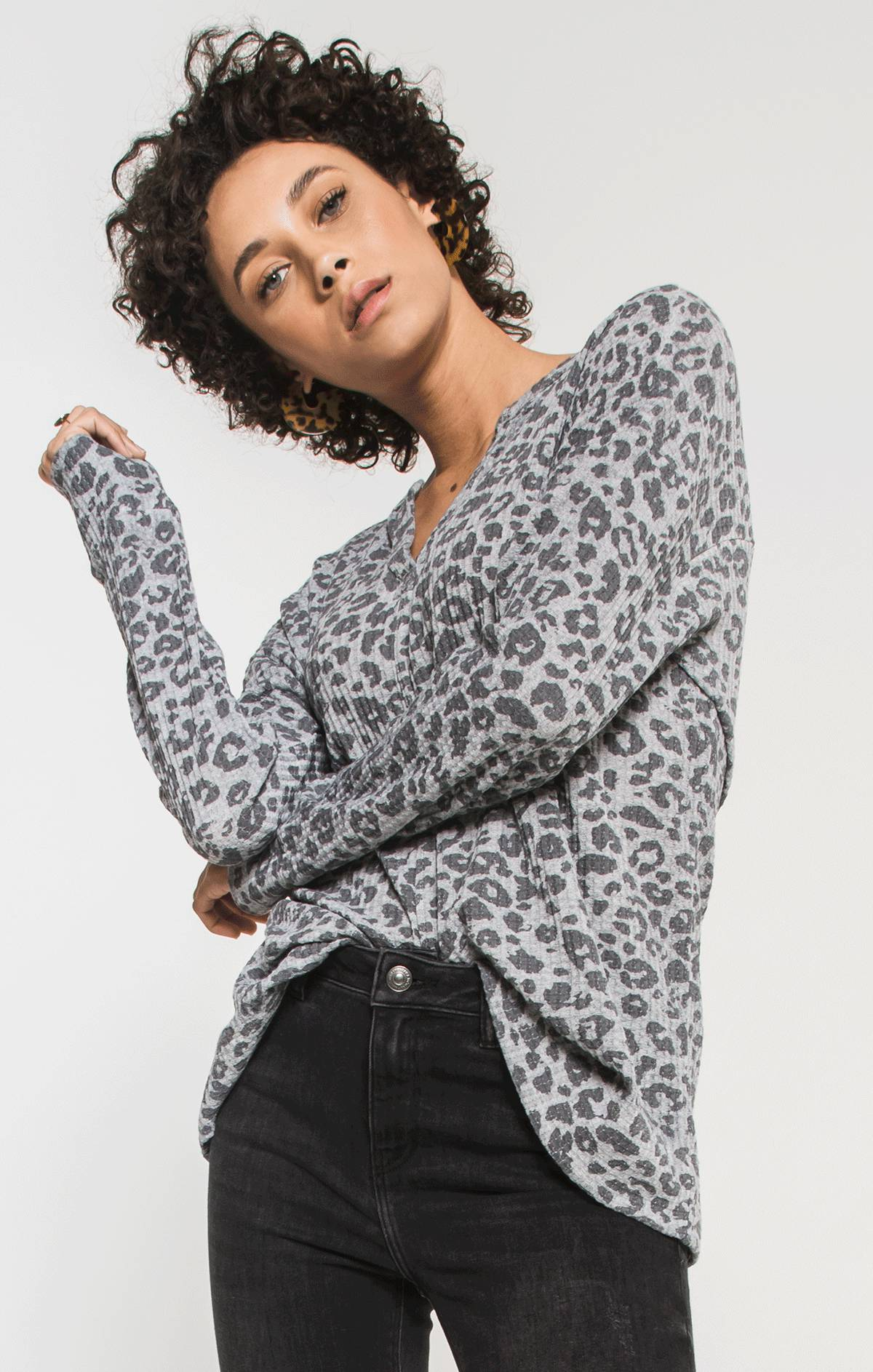 Tops Leopard Waffle Thermal Split Neck Top Heather Grey Combo