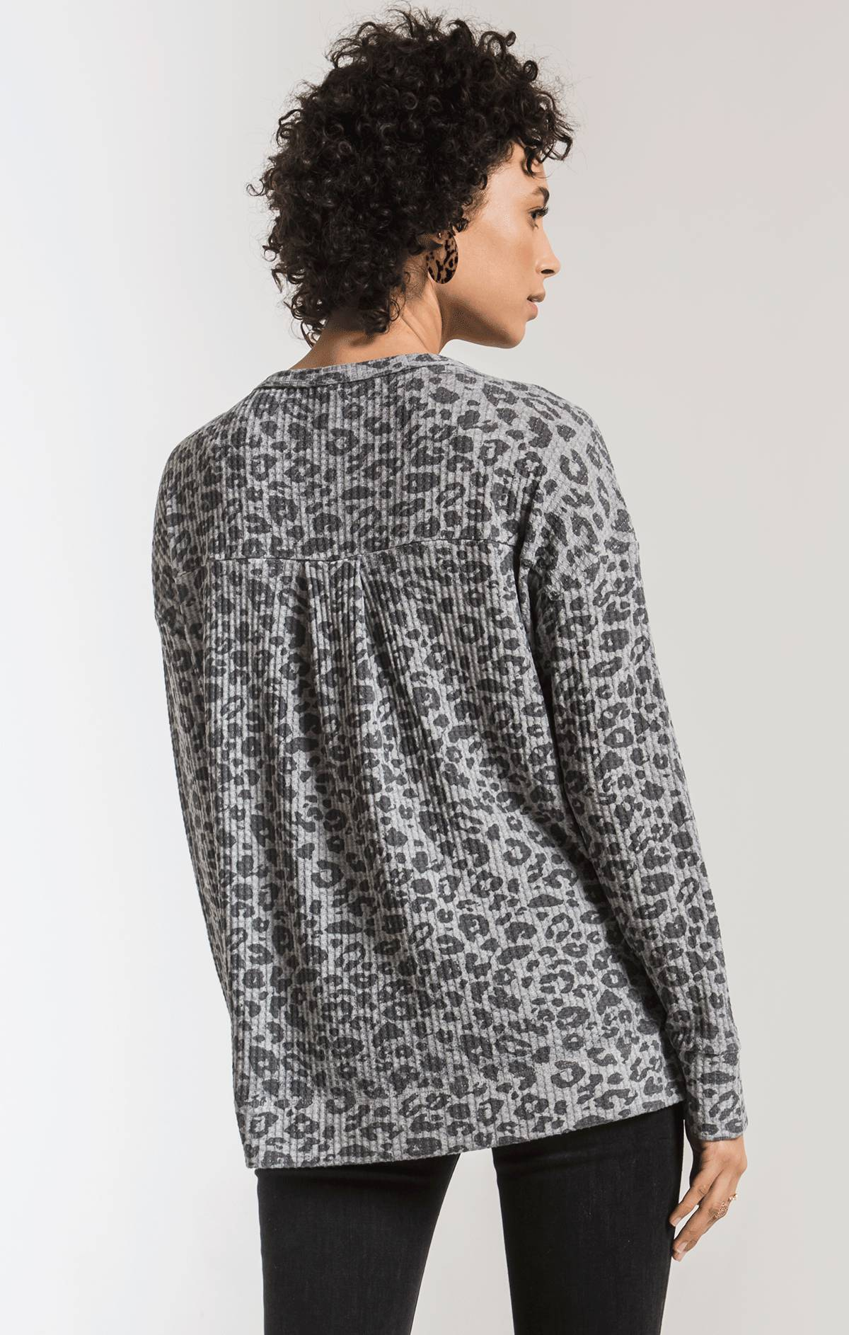 Tops The Leopard Waffle Thermal Split Neck Top Heather Grey Combo