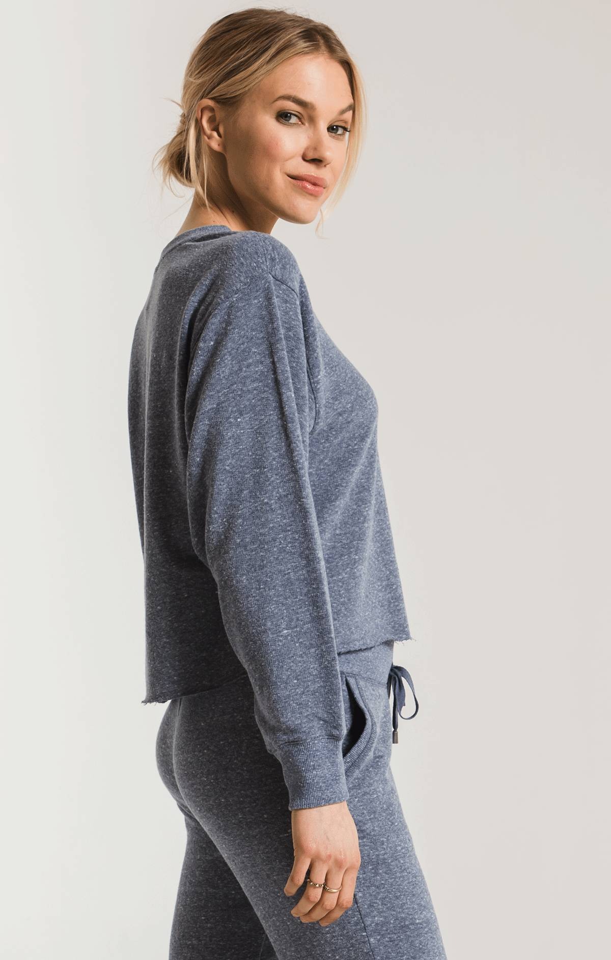 Tops The Triblend Long Sleeve Cropped Tee Black Iris