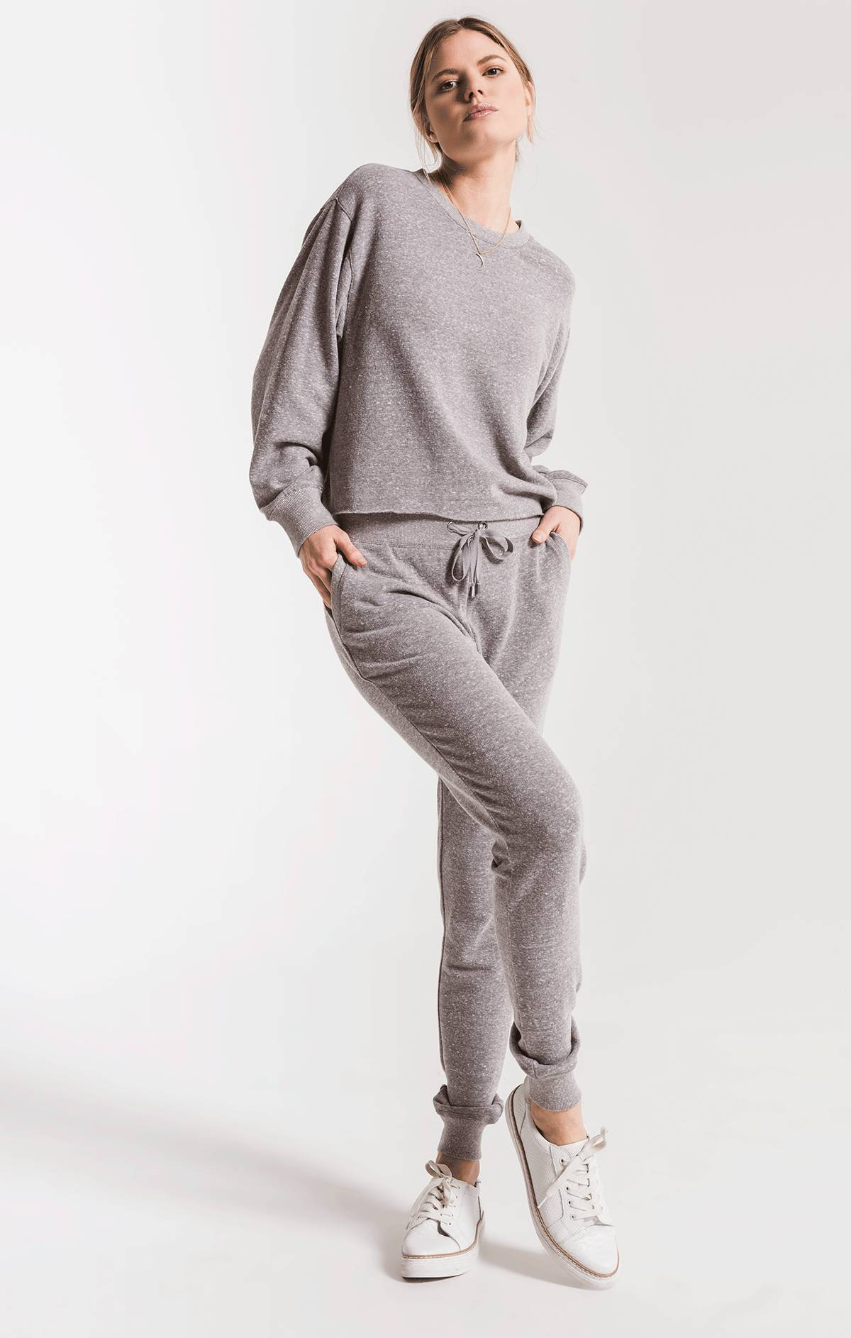Tops The Triblend Long Sleeve Cropped Tee Heather Grey