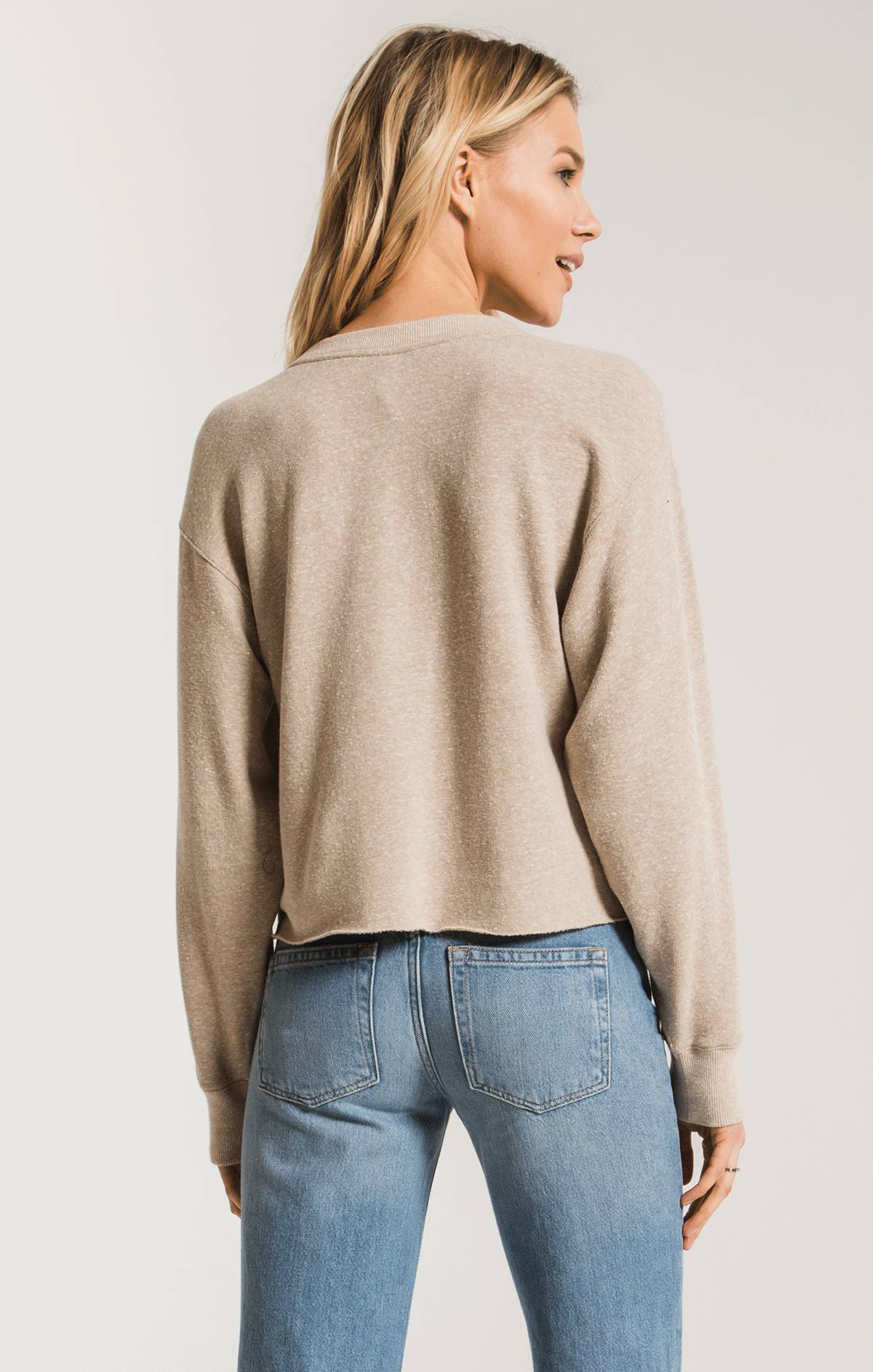 Tops The Triblend Long Sleeve Cropped Tee Simply Taupe