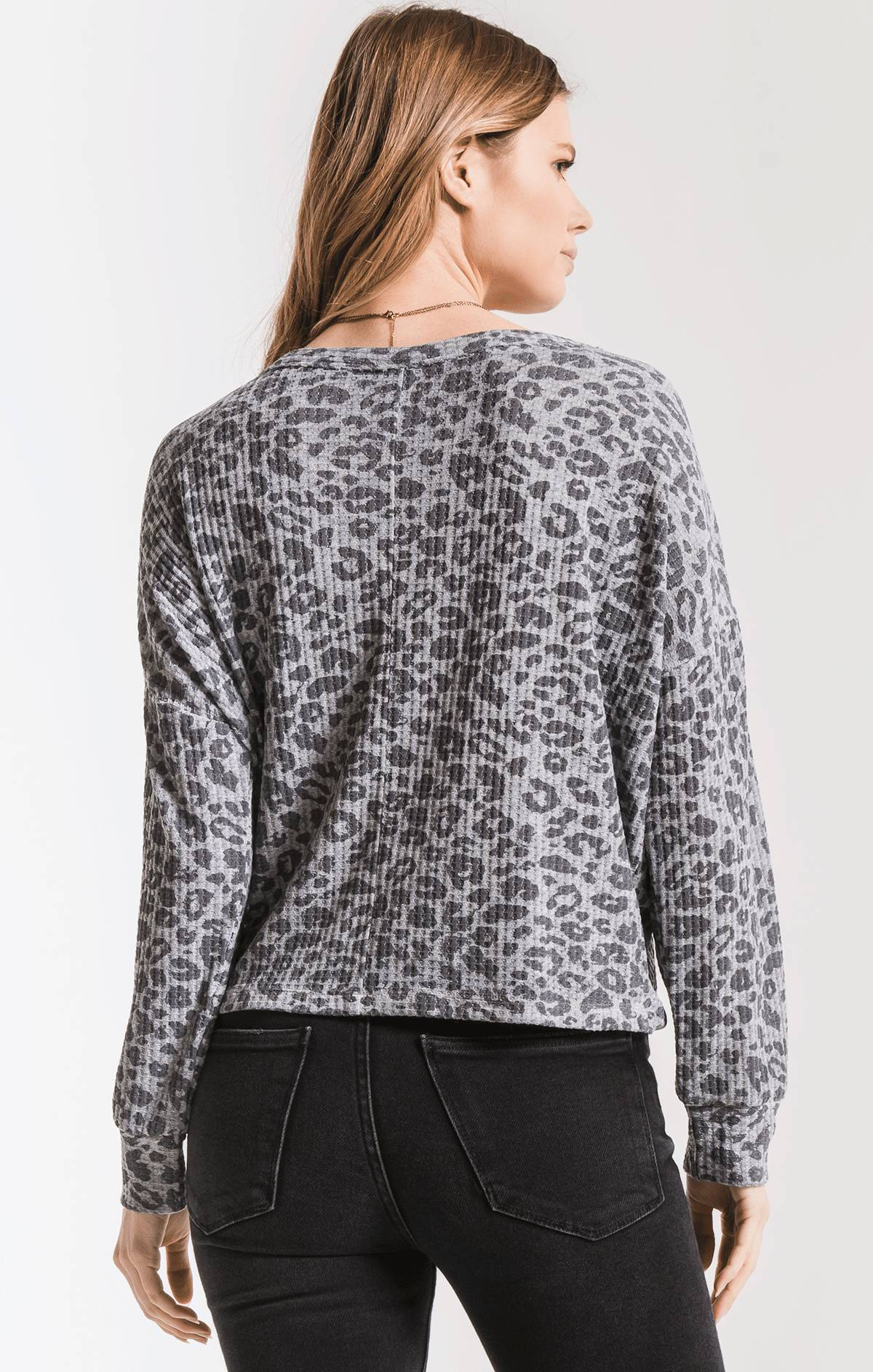 Tops The Leopard Tie-Front Waffle Thermal Top Heather Grey Combo