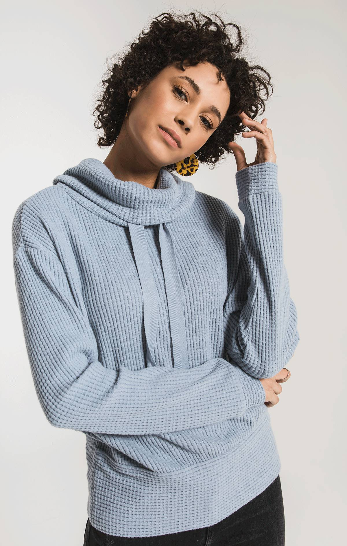 Tops Cowl Neck Waffle Thermal Top Ashley Blue