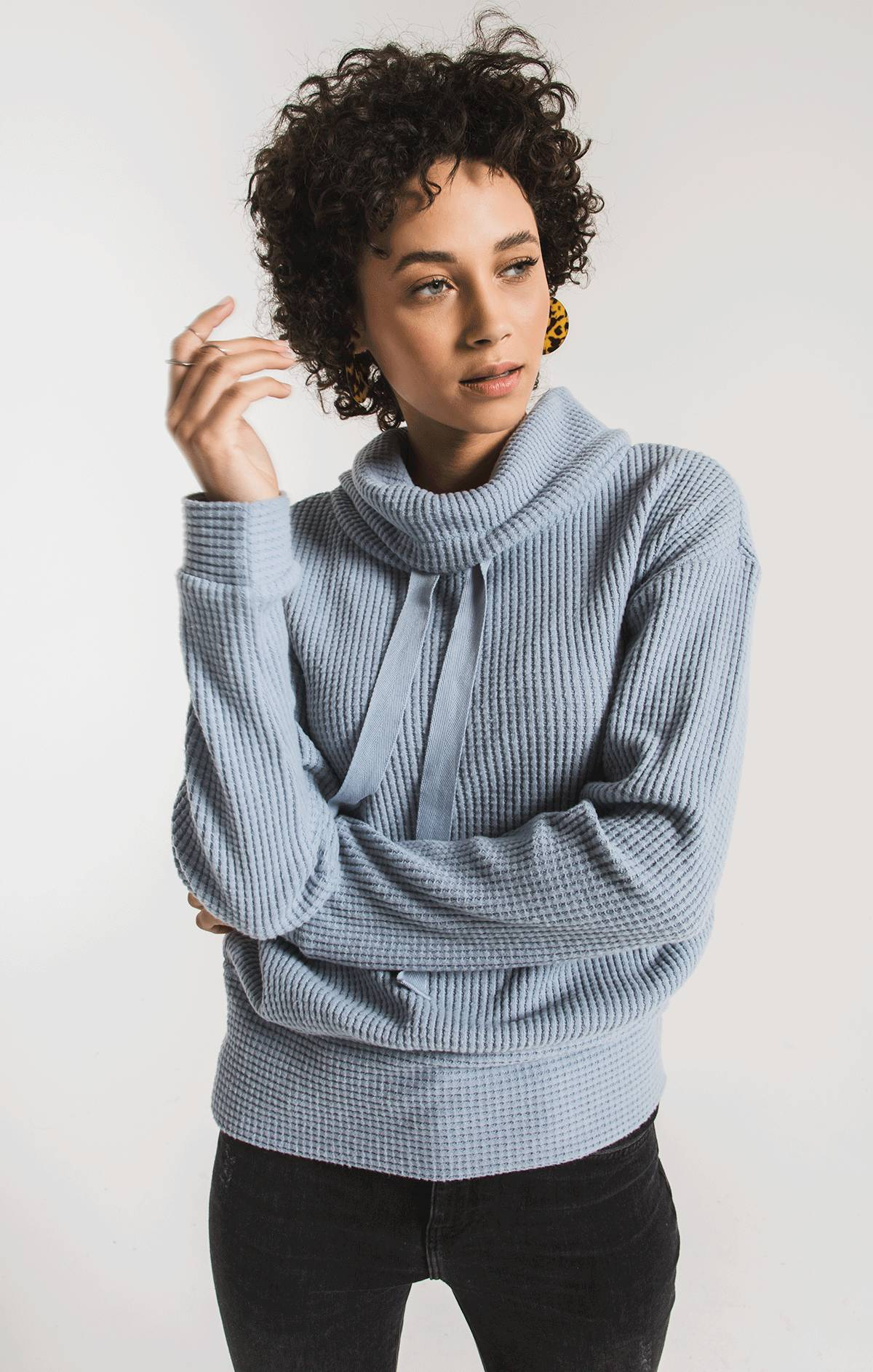 Tops The Cowl Neck Waffle Thermal Top Ashley Blue