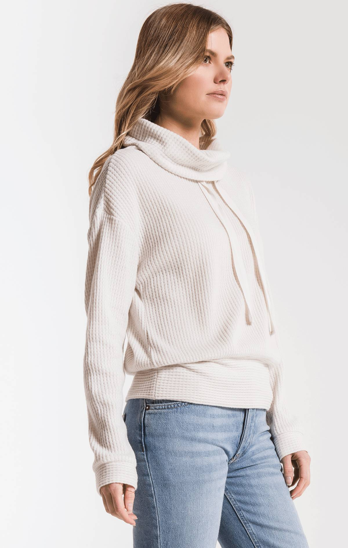 Tops The Cowl Neck Waffle Thermal Top Champagne Mist