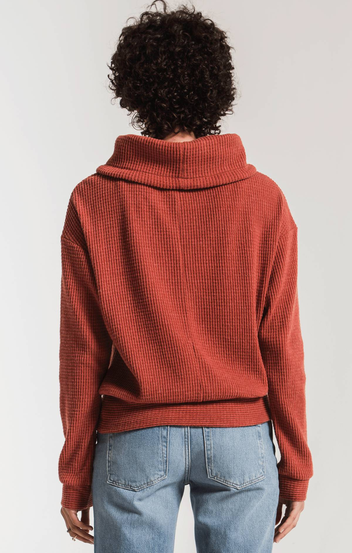 Tops The Cowl Neck Waffle Thermal Top Mesa Red