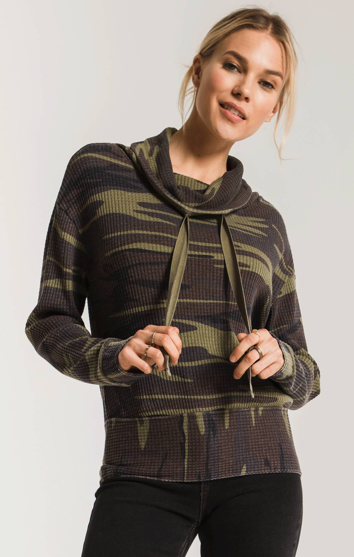 Tops The Camo Cowl Neck Waffle Thermal Top Camo Green