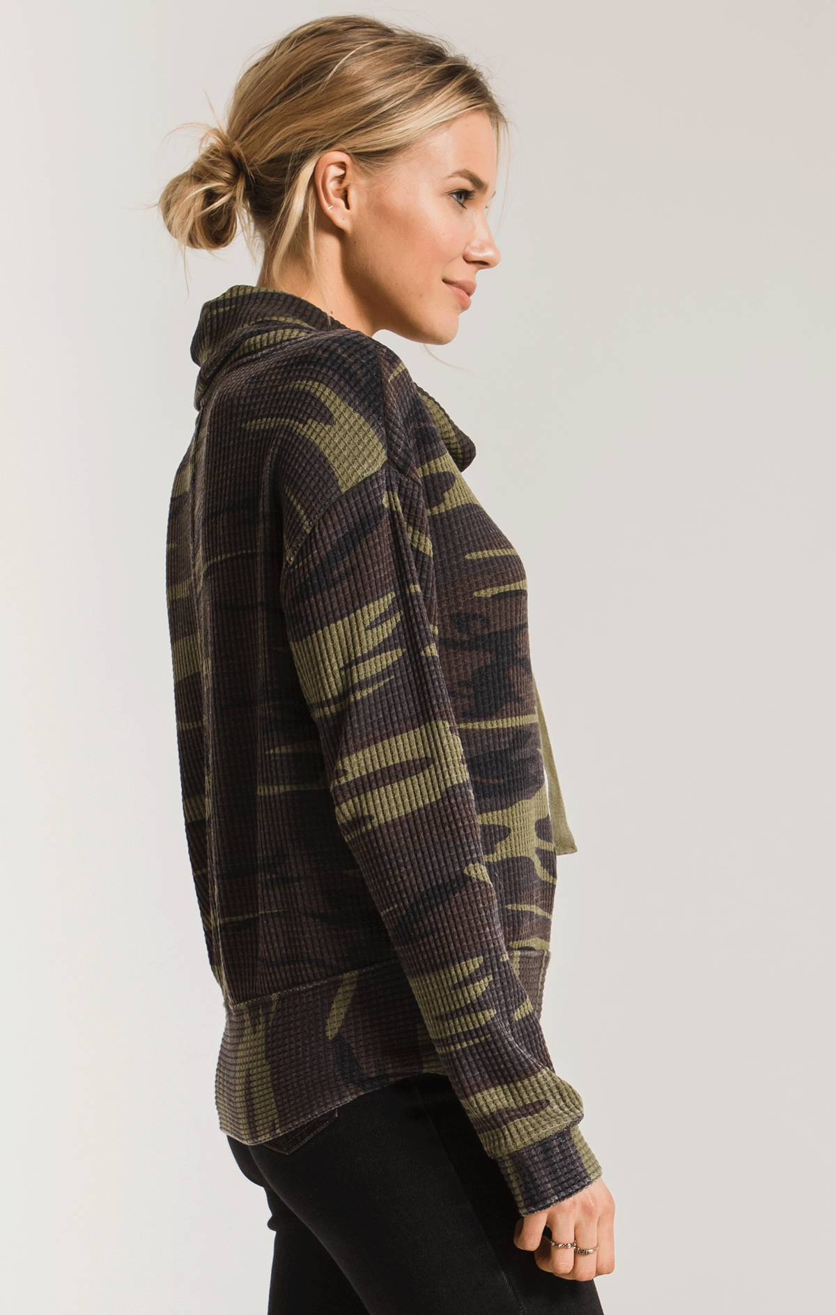 Tops Camo Cowl Neck Waffle Thermal Top Camo Green