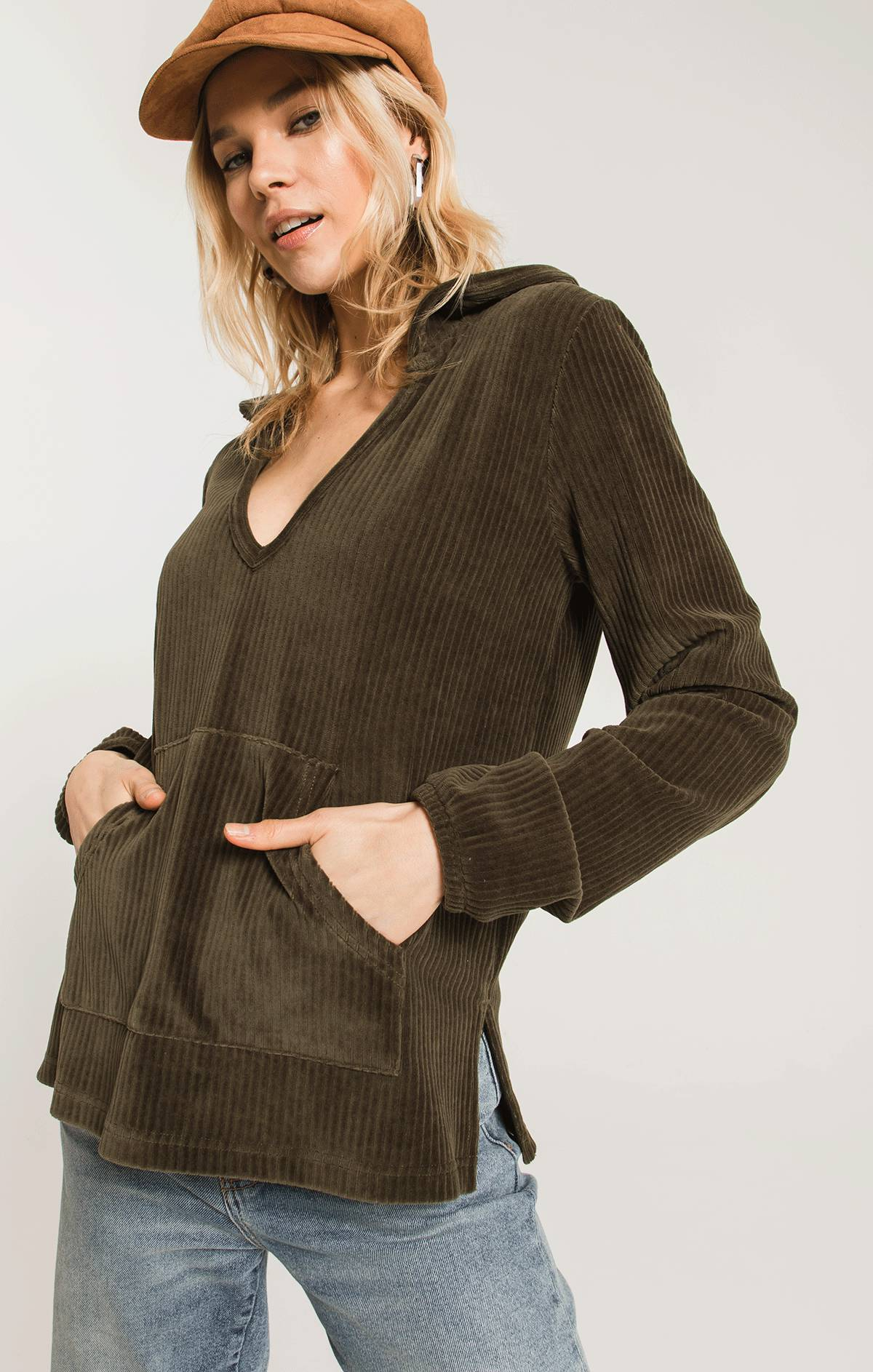 Tops Knit Corduroy Pullover Forest Night