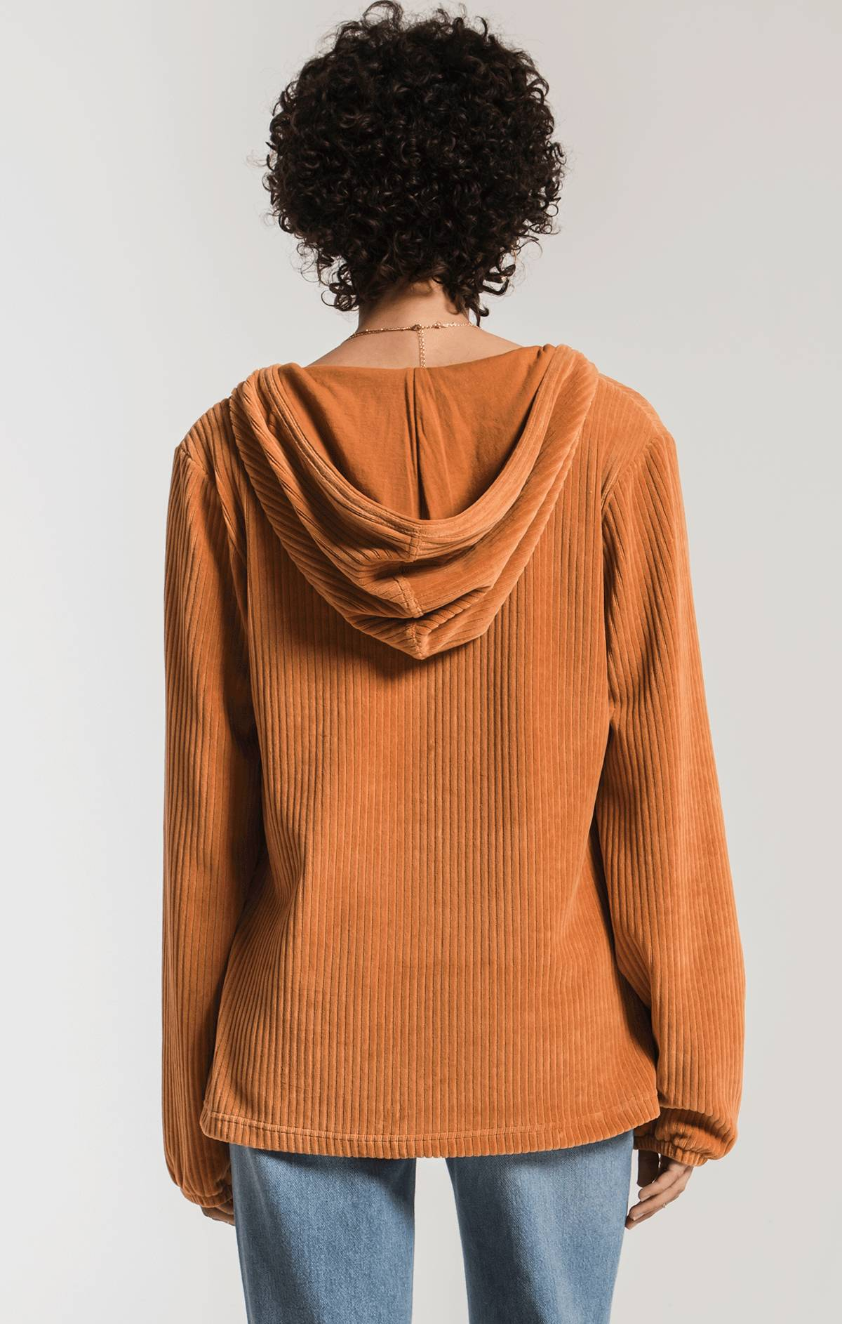 Tops Knit Corduroy Pullover Warm Wood