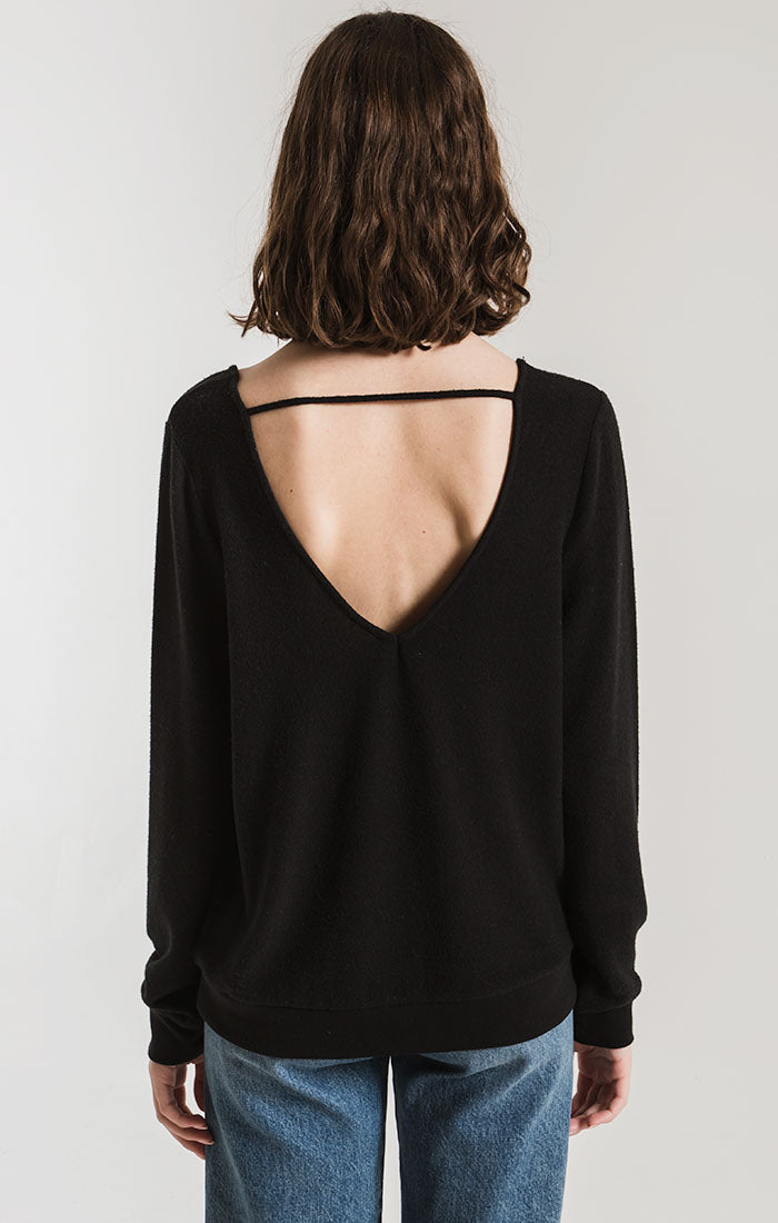 Tops The Soft Spun Strap Back Pullover Black