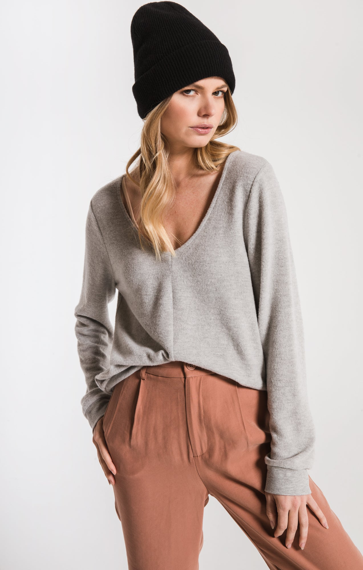 Tops Soft Spun Strap Back Pullover Heather Grey