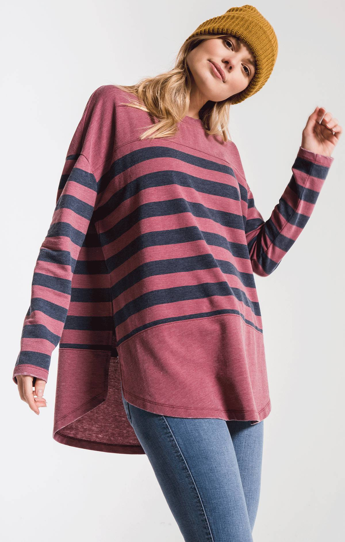 Tops The Modern Stripe Long Sleeve Top Crushed Berry/Black Iris