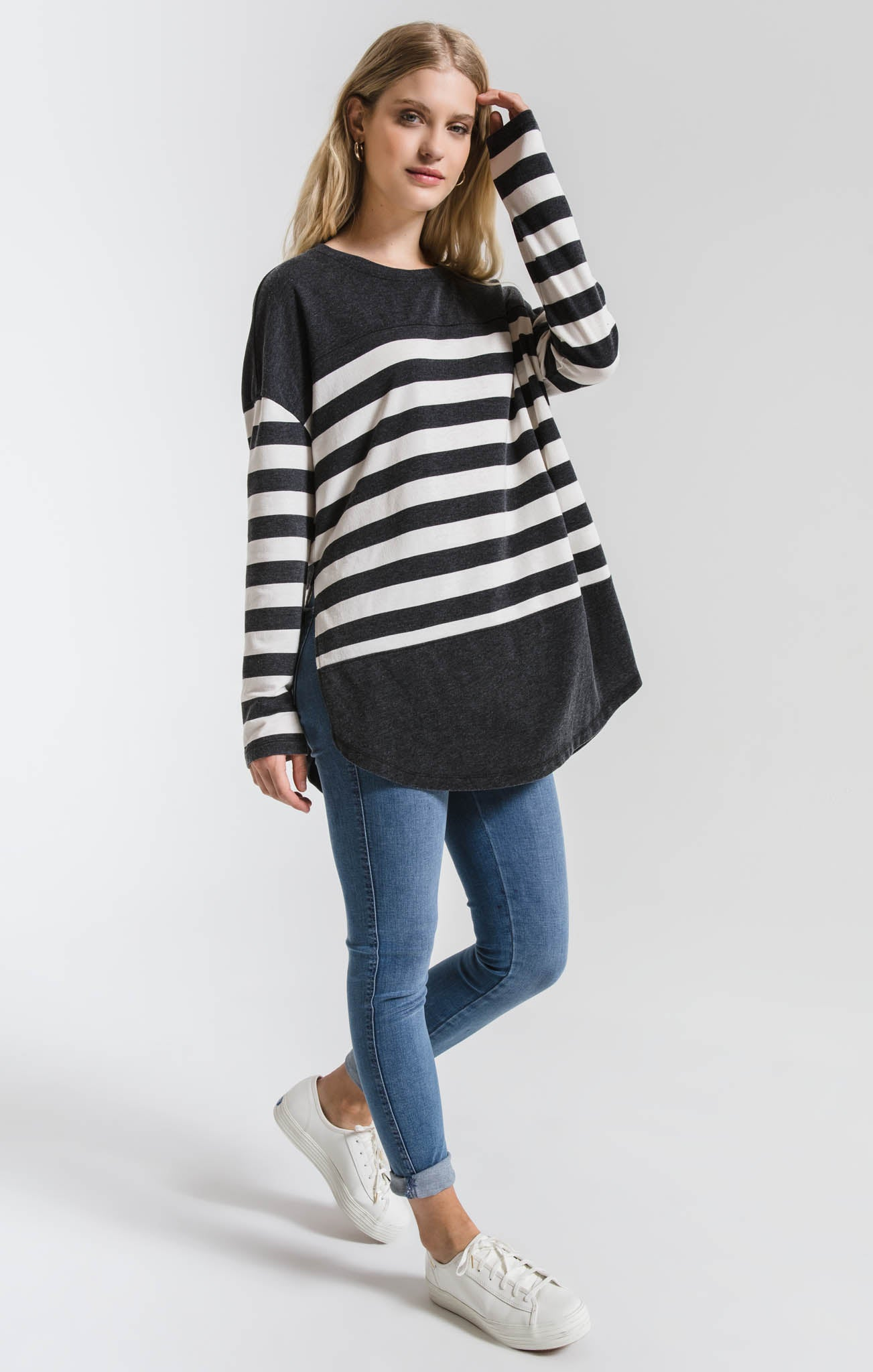 Tops The Modern Stripe Long Sleeve Top Black/Champagne Mist