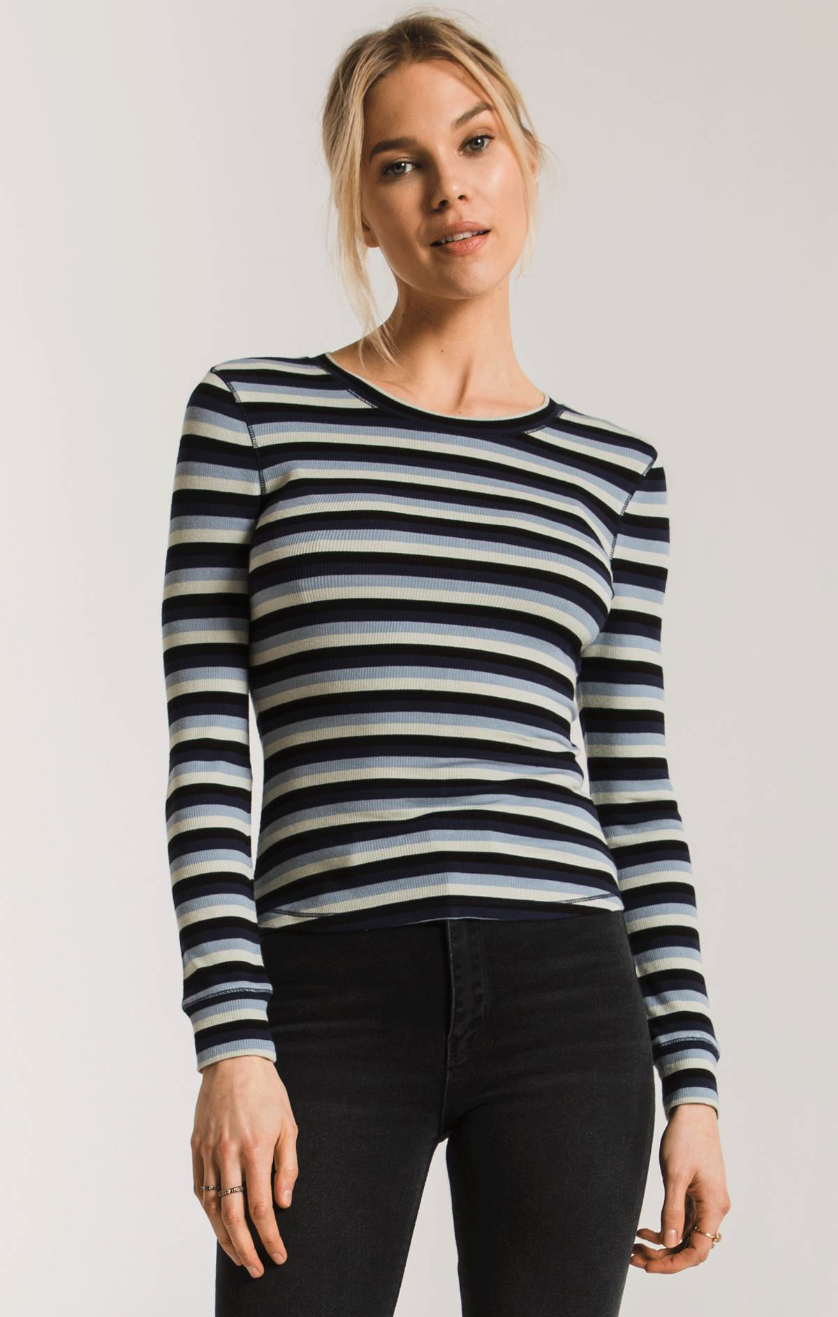 Tops Pamina Stripe Rib Top Black Iris Combo