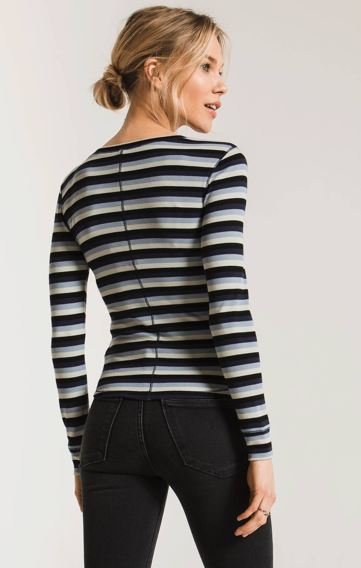 Tops The Pamina Stripe Rib Top Black Iris Combo
