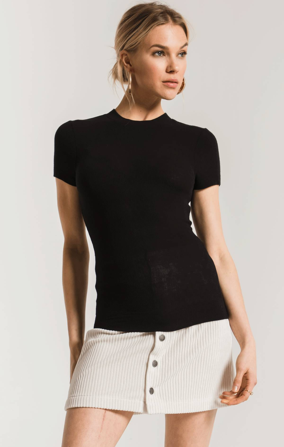 Tops The Micro Rib Fitted Tee Black