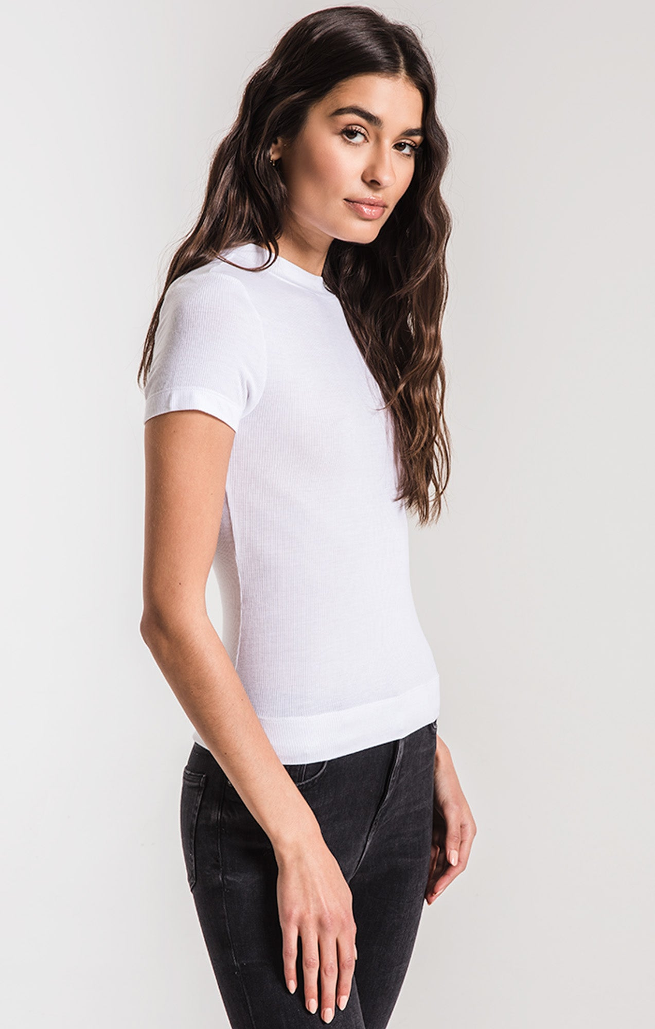 Tops The Micro Rib Fitted Tee White