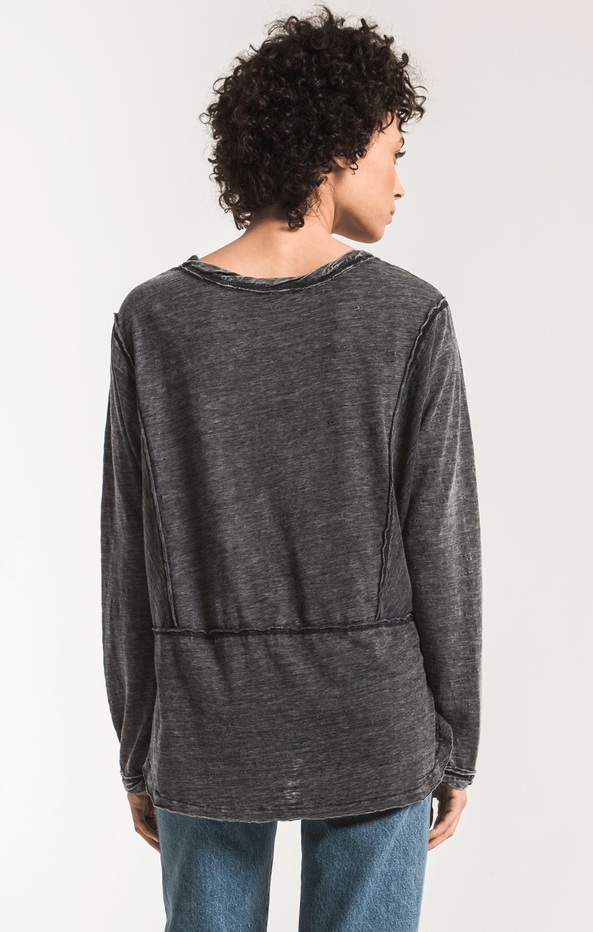 Tops The Airy Slub Long Sleeve Top Black