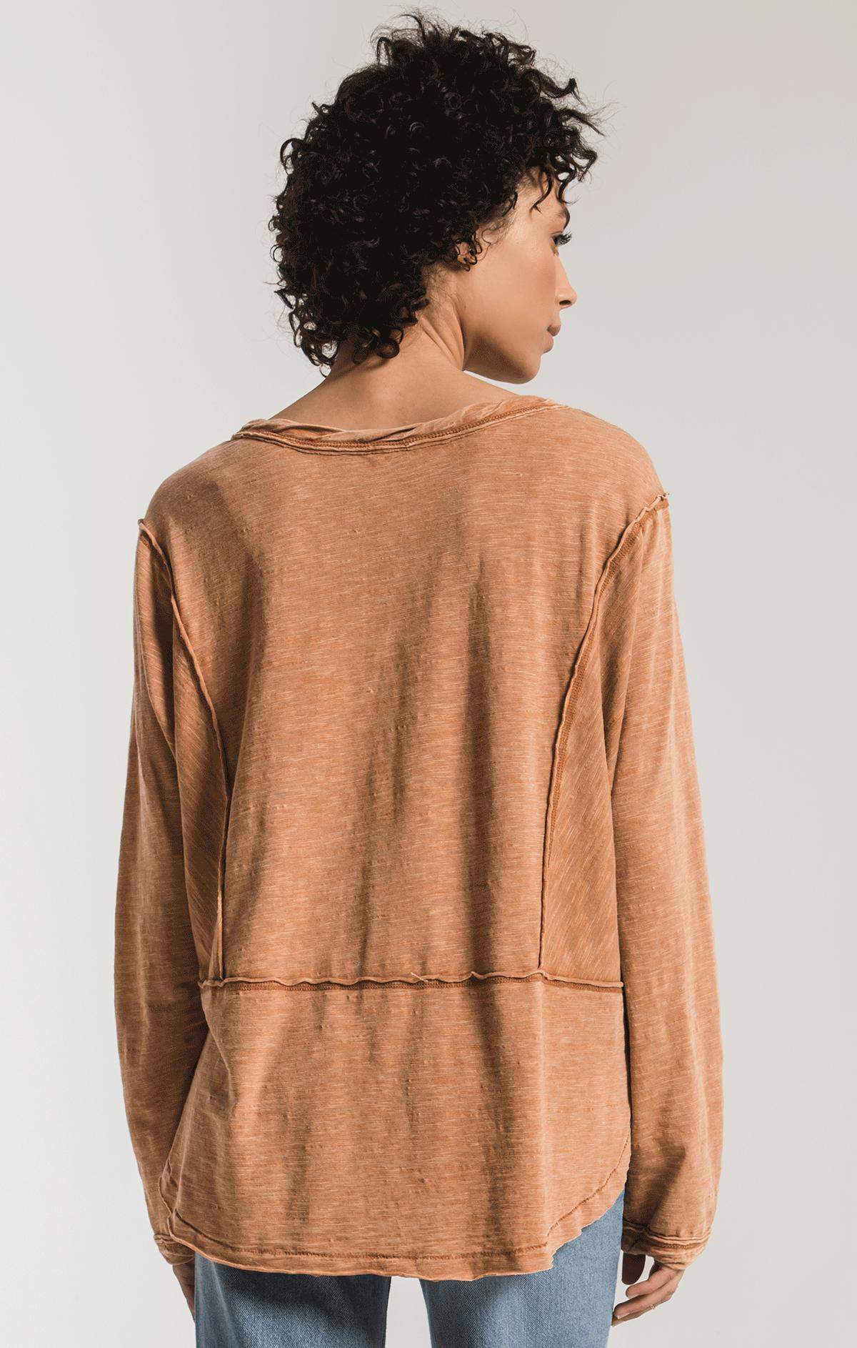 Tops Airy Slub Long Sleeve Top Warm Wood