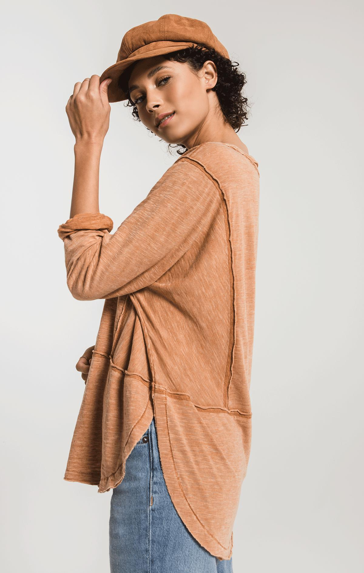 Tops The Airy Slub Long Sleeve Top Warm Wood
