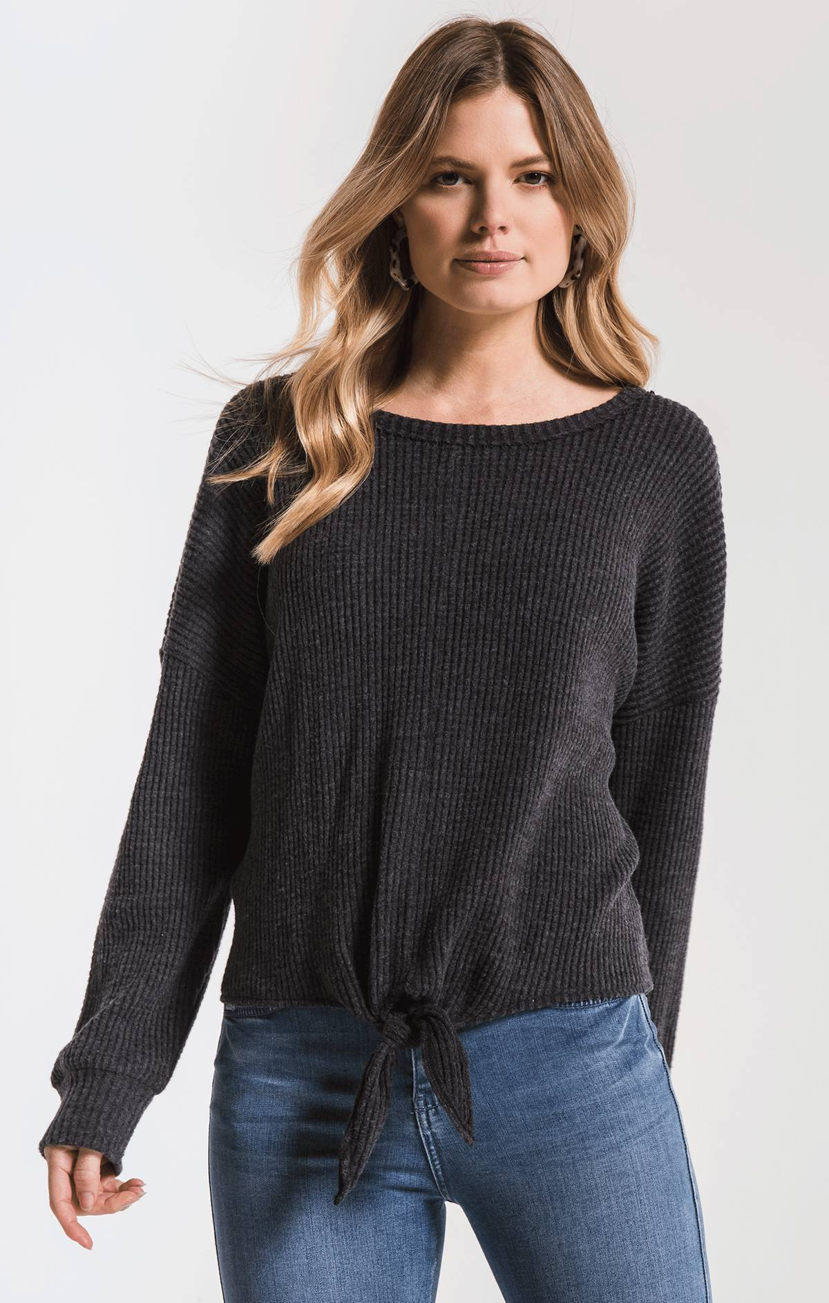 Tops Tie-Front Waffle Thermal Top Black
