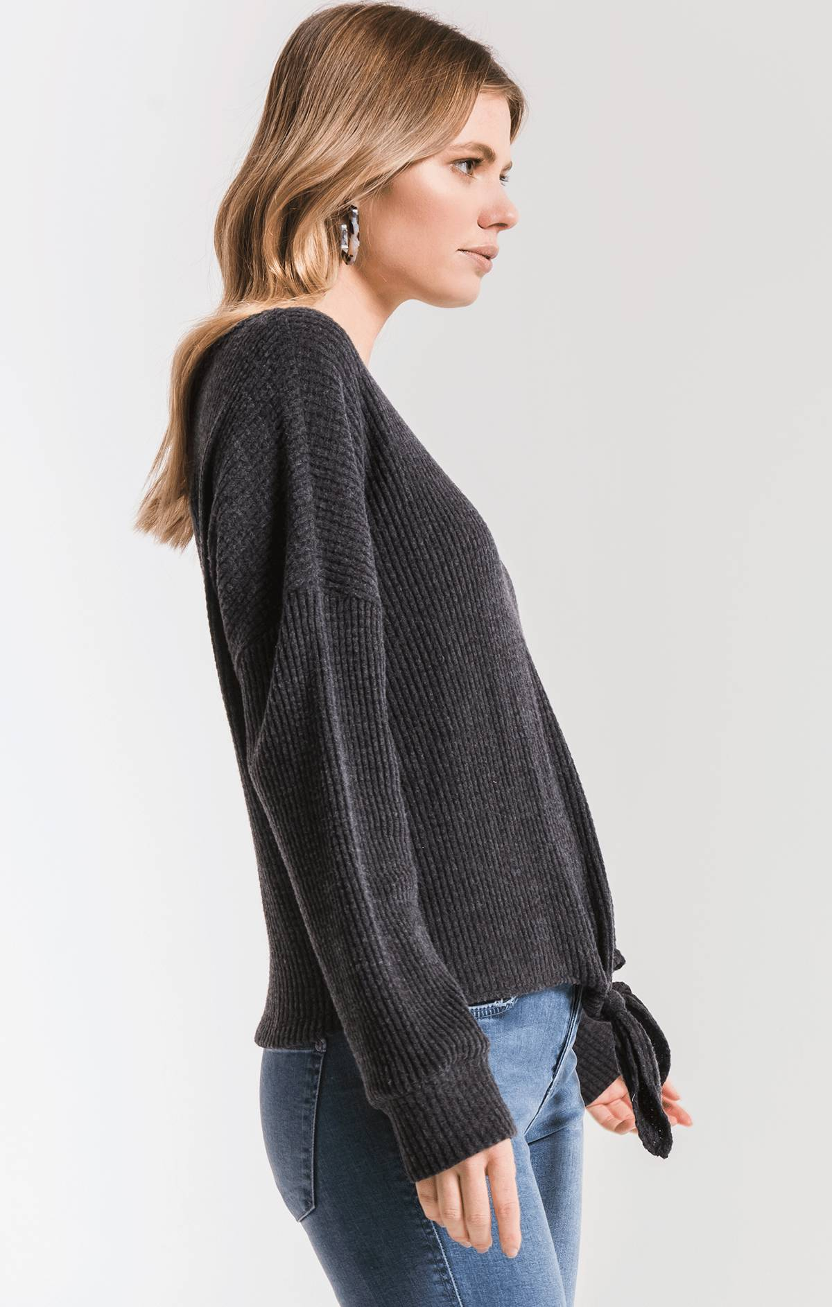 Tops The Tie-Front Waffle Thermal Top Black