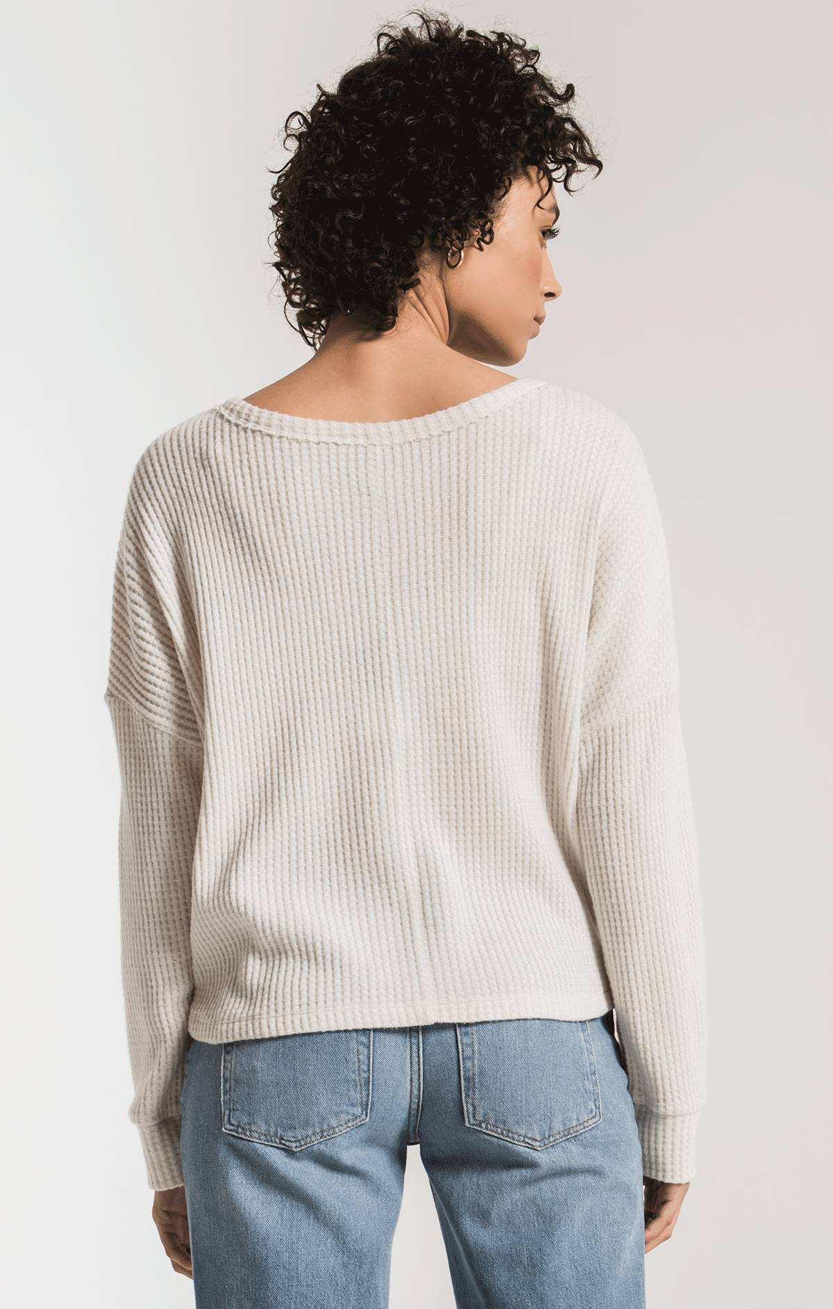 Tops The Tie-Front Waffle Thermal Top Champagne Mist