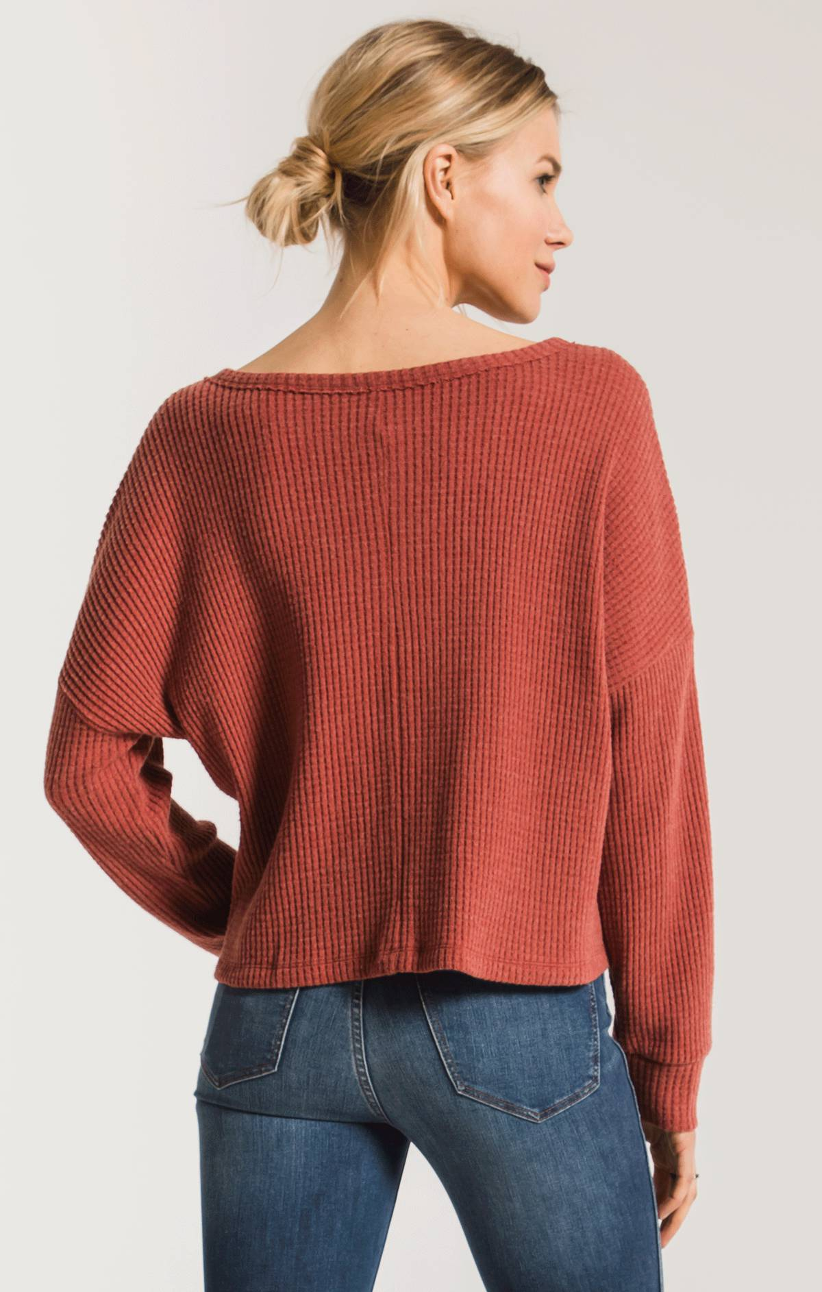 Tops Tie-Front Waffle Thermal Top Mesa Red