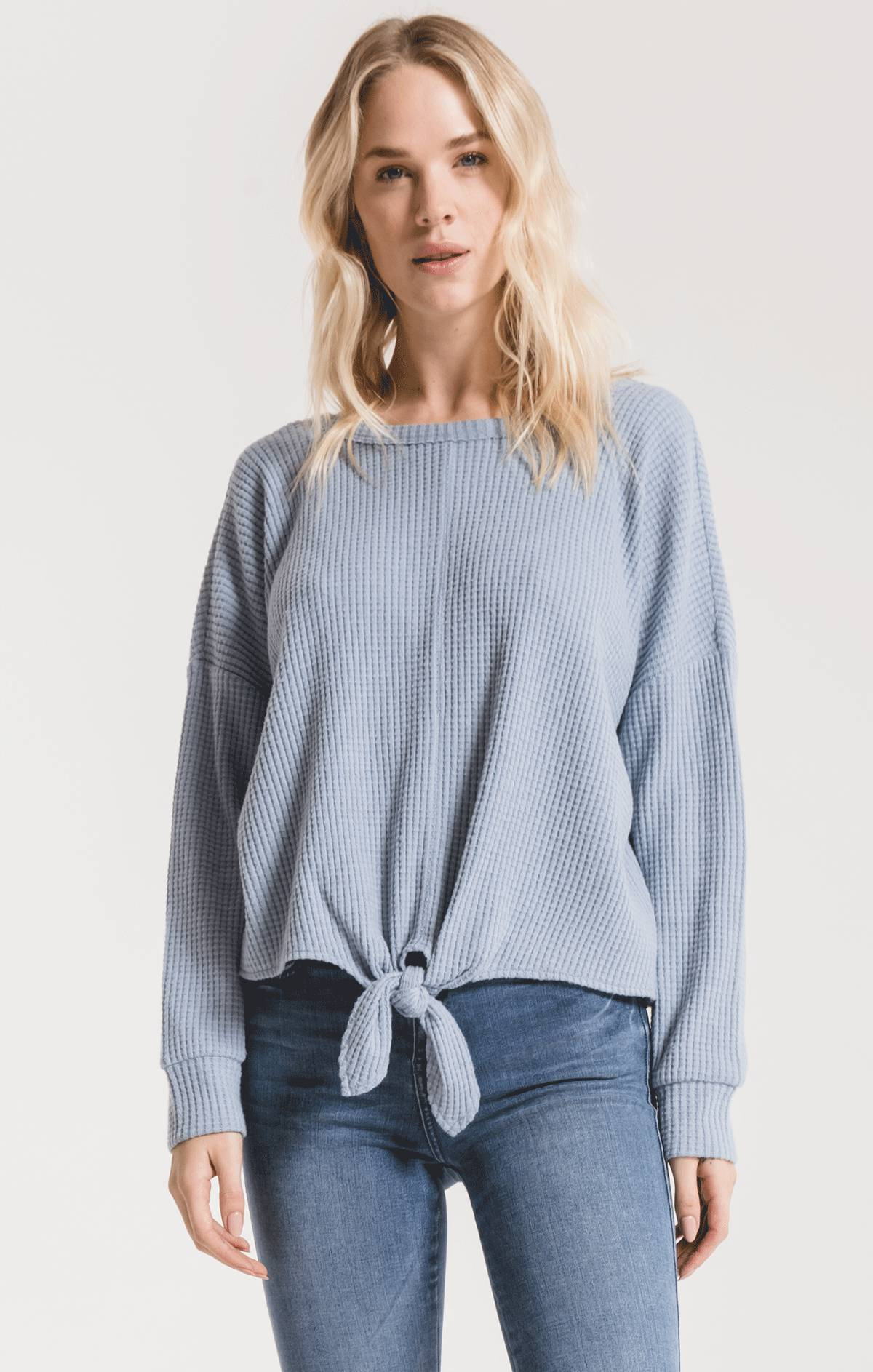 Tops Tie-Front Waffle Thermal Top Ashley Blue