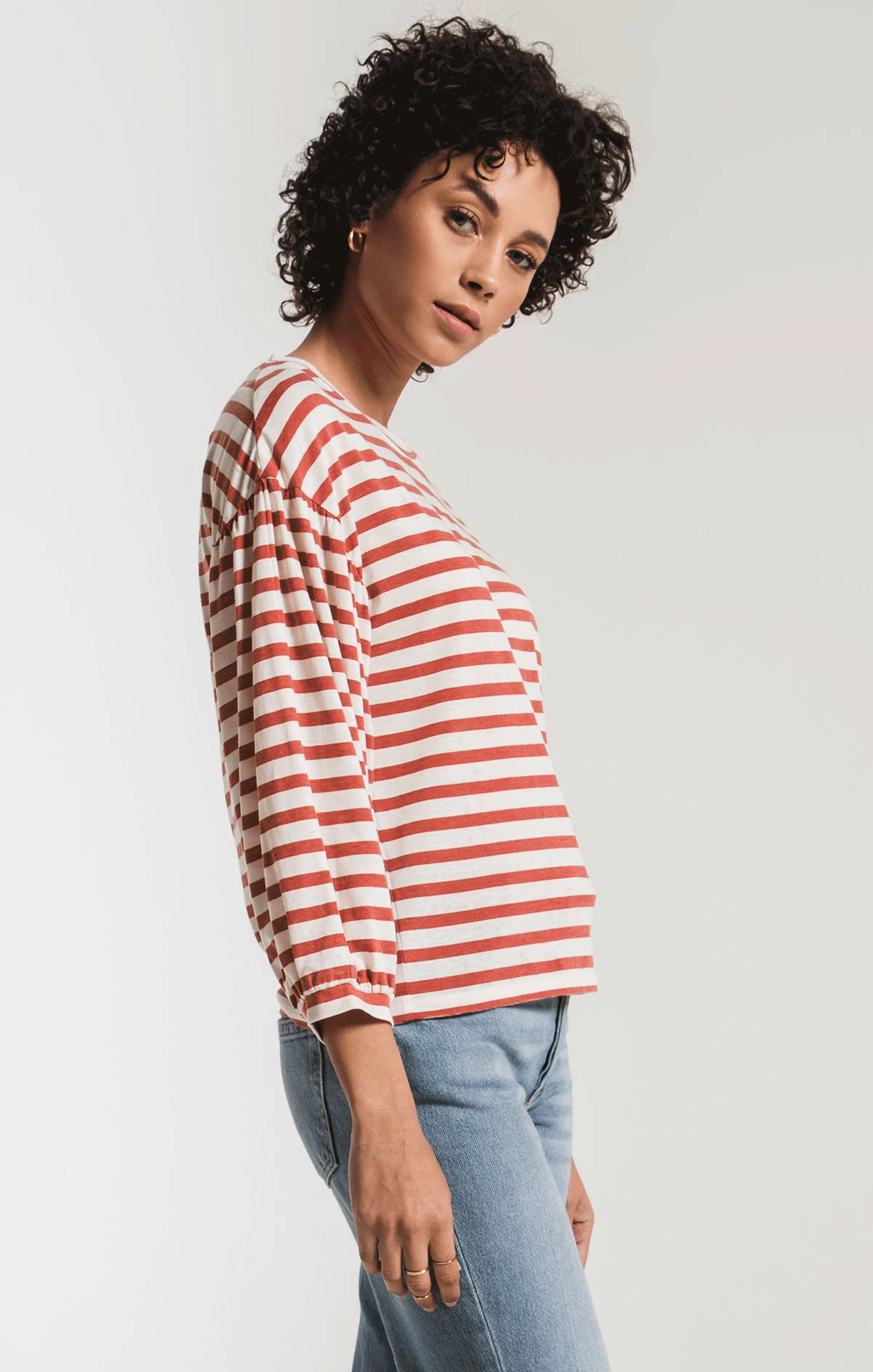 Tops The Canyon Stripe Peasant Tee Chili Powder/Champagne Mist