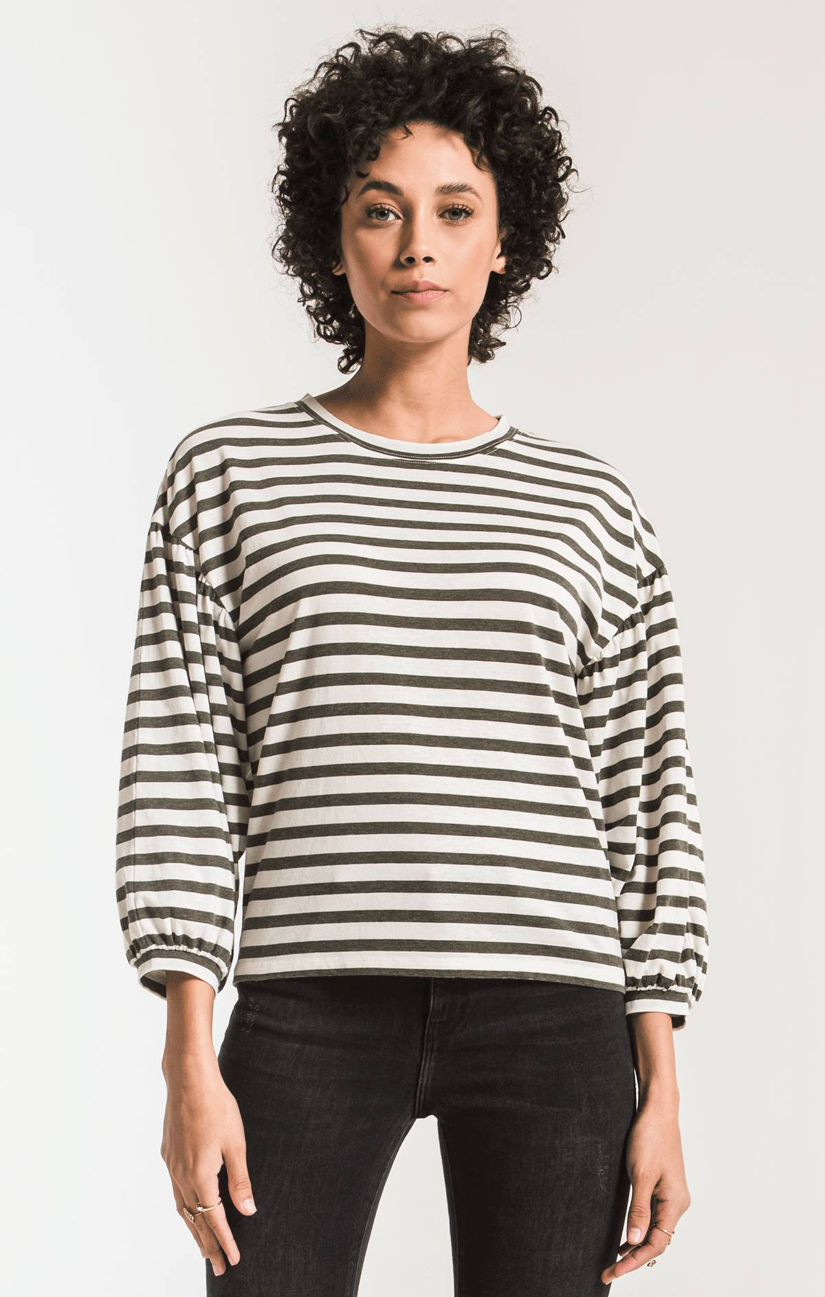 Tops Canyon Stripe Peasant Tee Rosin/Champagne Mist