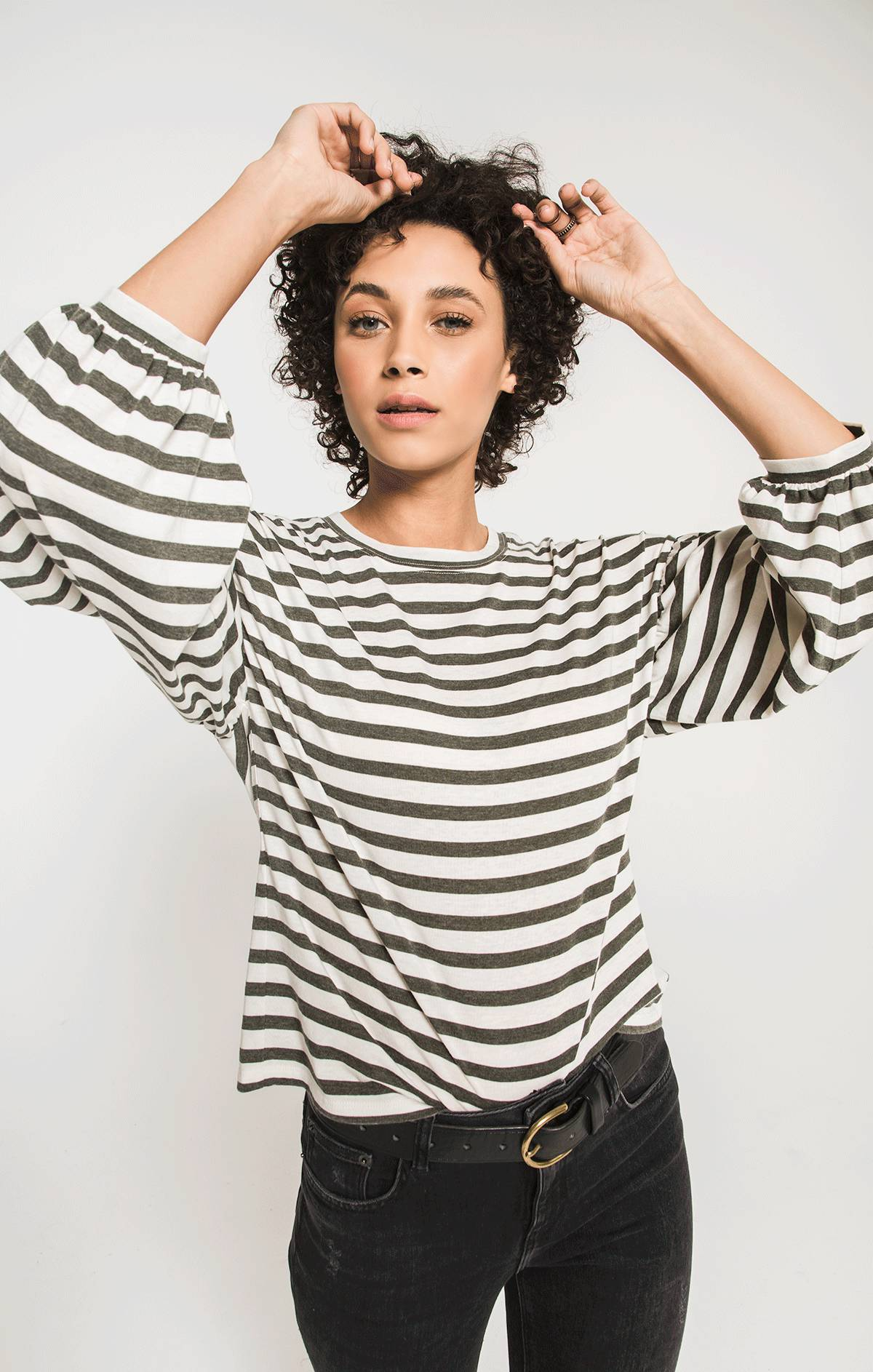 Tops The Canyon Stripe Peasant Tee Rosin/Champagne Mist