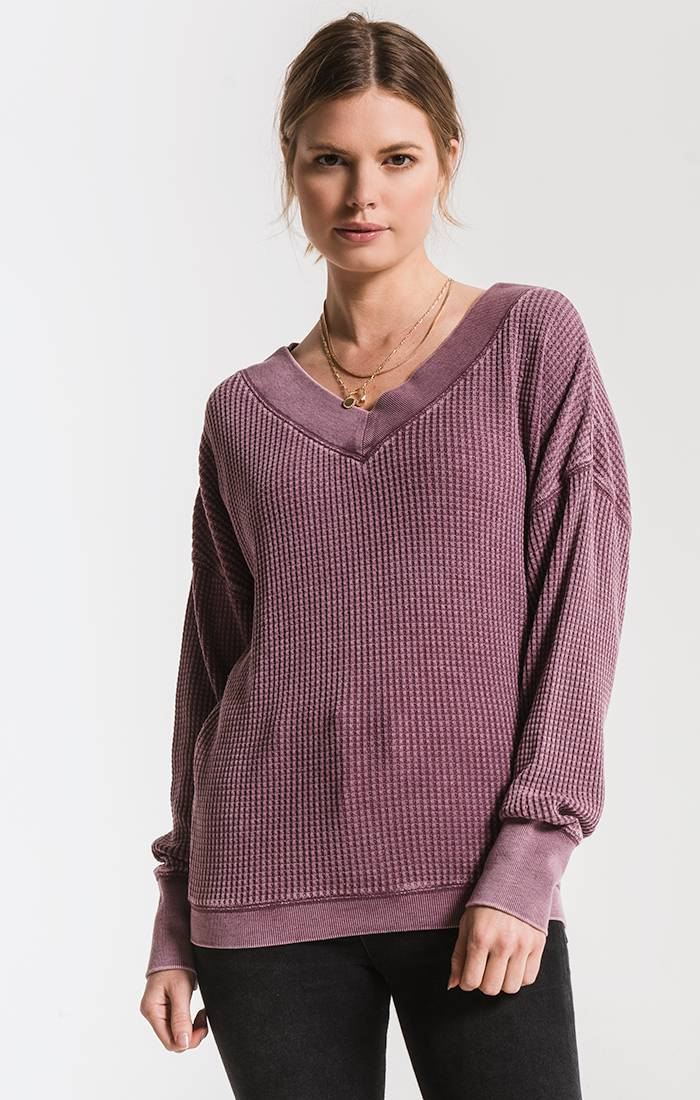 Tops The Emilia Thermal Top Mauve Wine