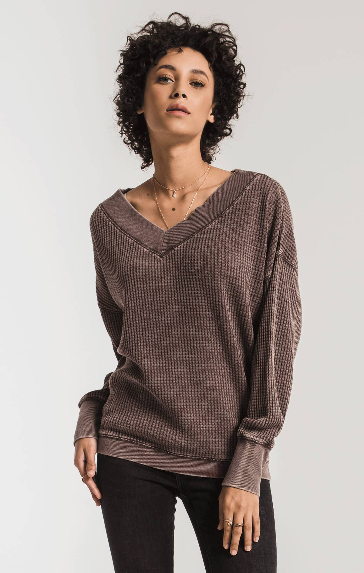 Tops The Emilia Thermal Top Reddened Brown