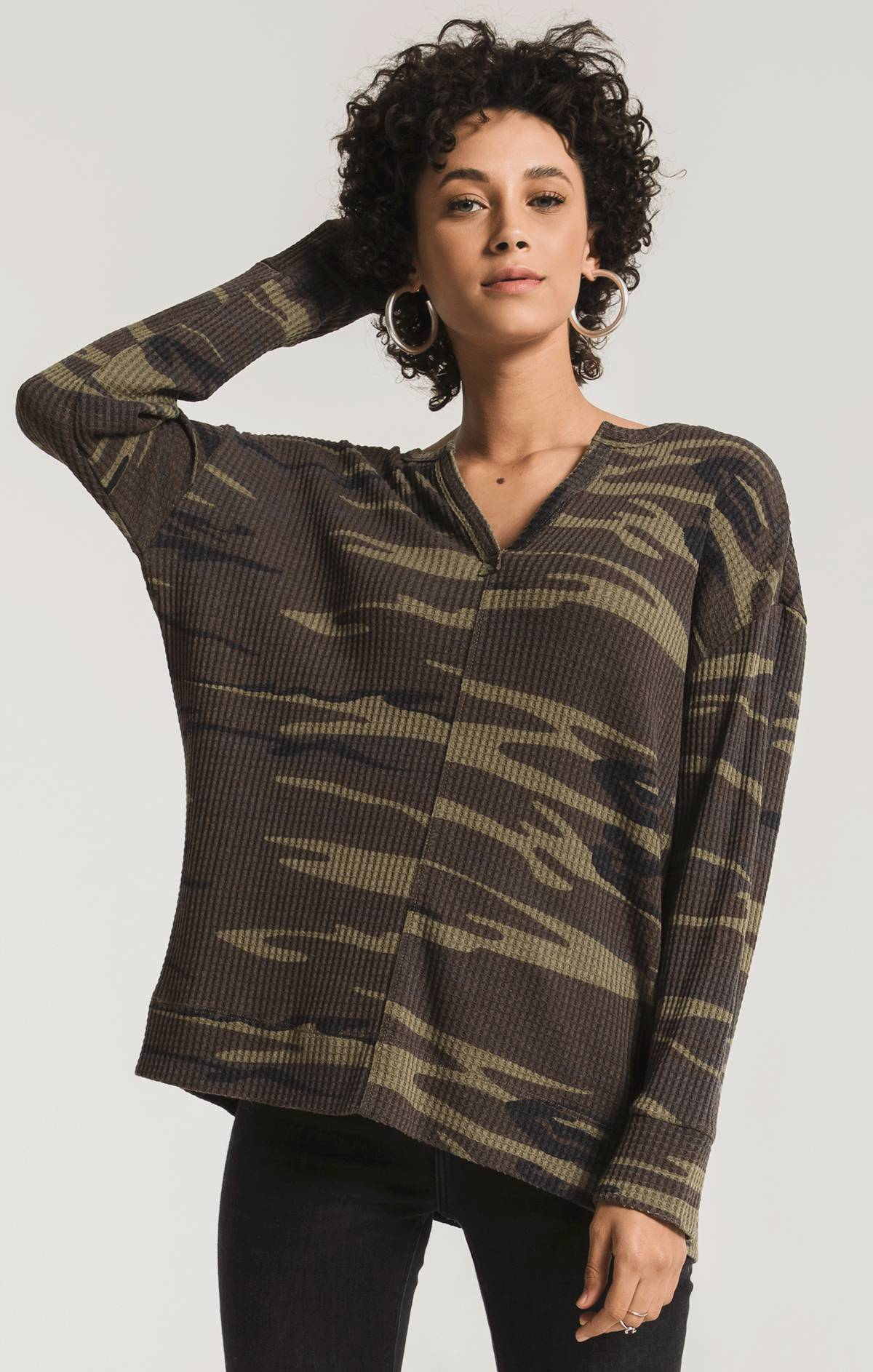 Tops The Camo Thermal Split Neck Top Camo Green
