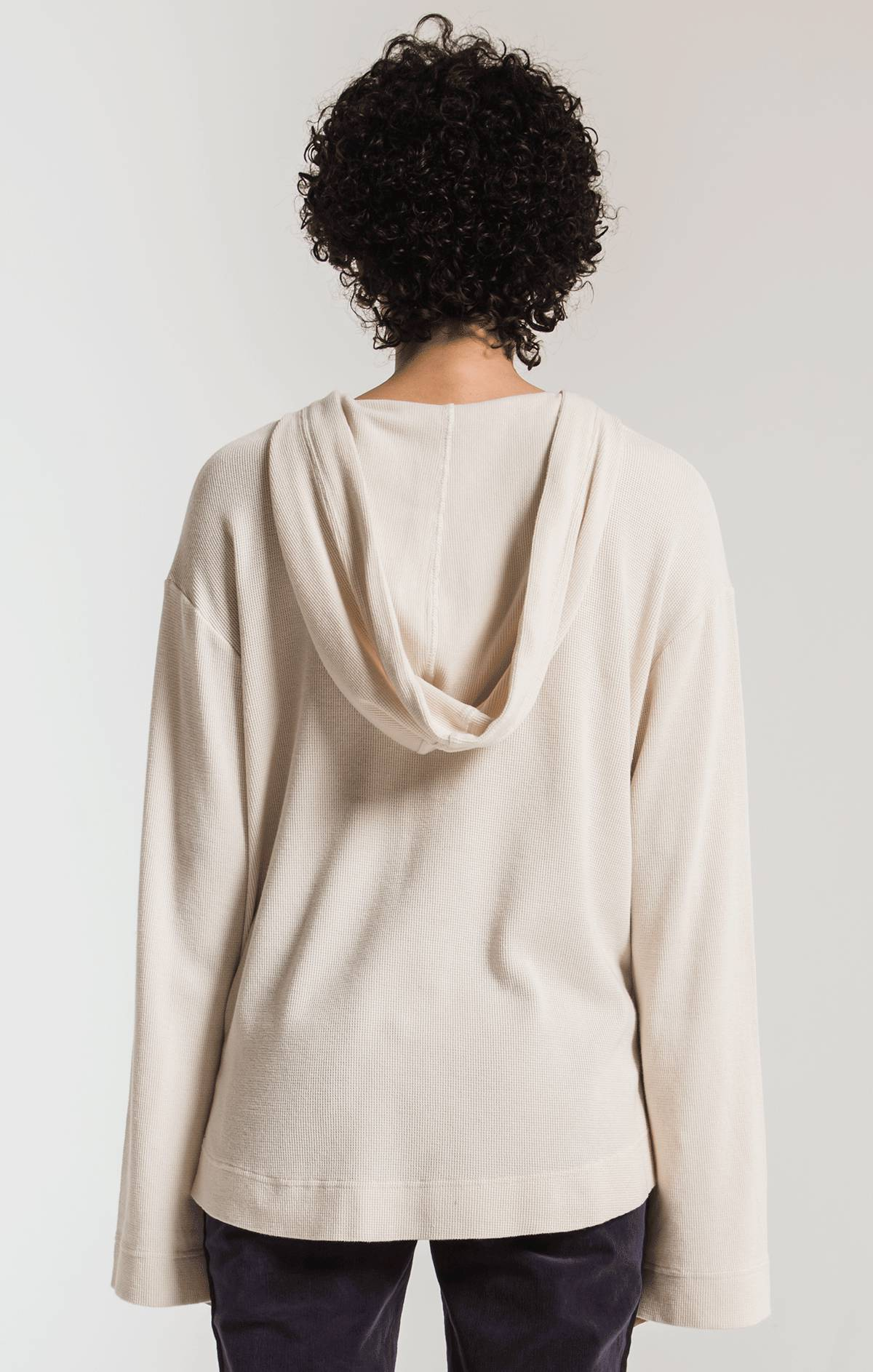 Tops The Flared Sleeve Thermal Hoodie Champagne Mist