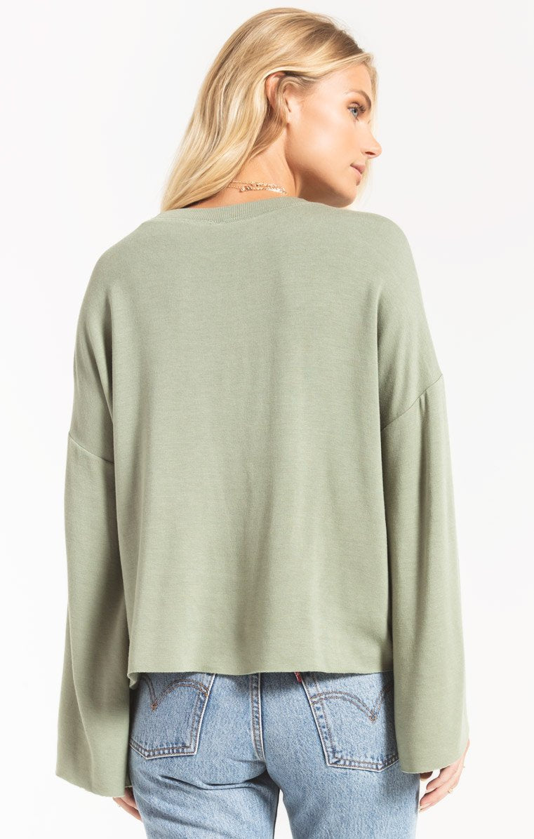 Tops Premium Fleece Flare Sleeve Pullover Agave Green