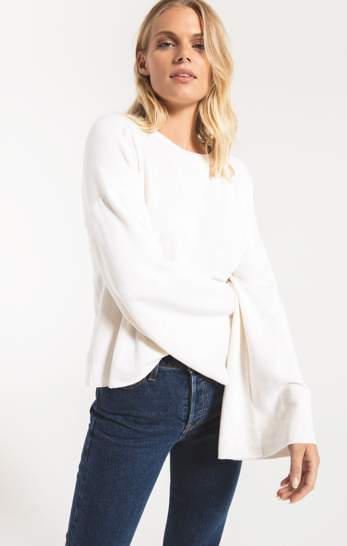 Tops Premium Fleece Flare Sleeve Pullover Oatmeal