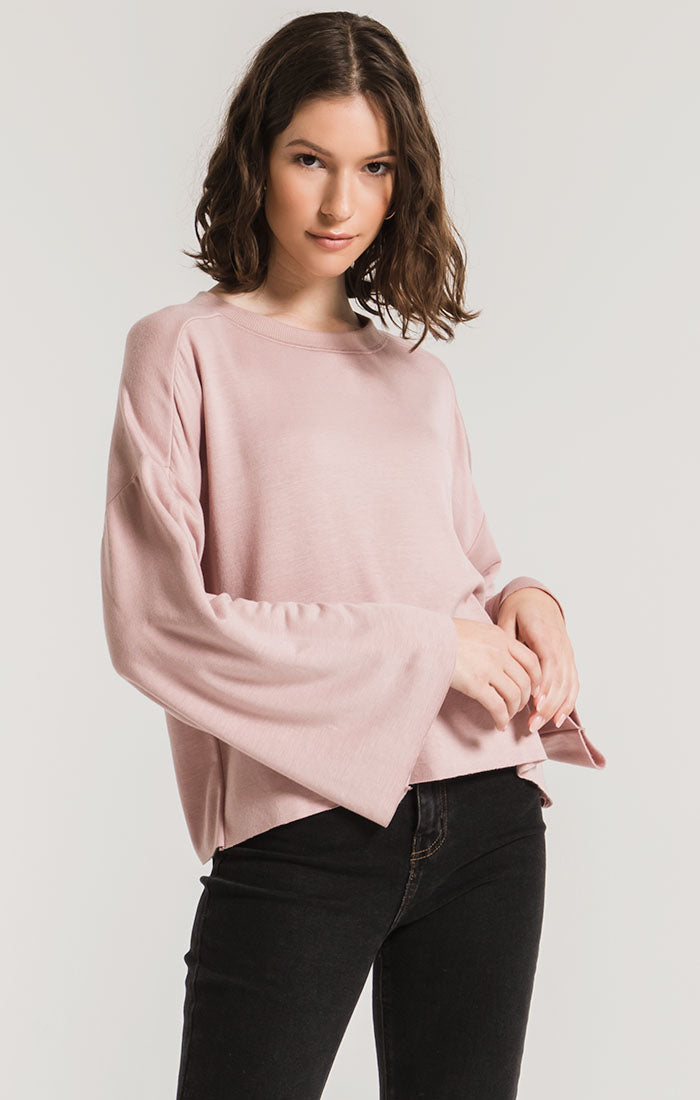 Tops Premium Fleece Flare Sleeve Pullover Wood Rose